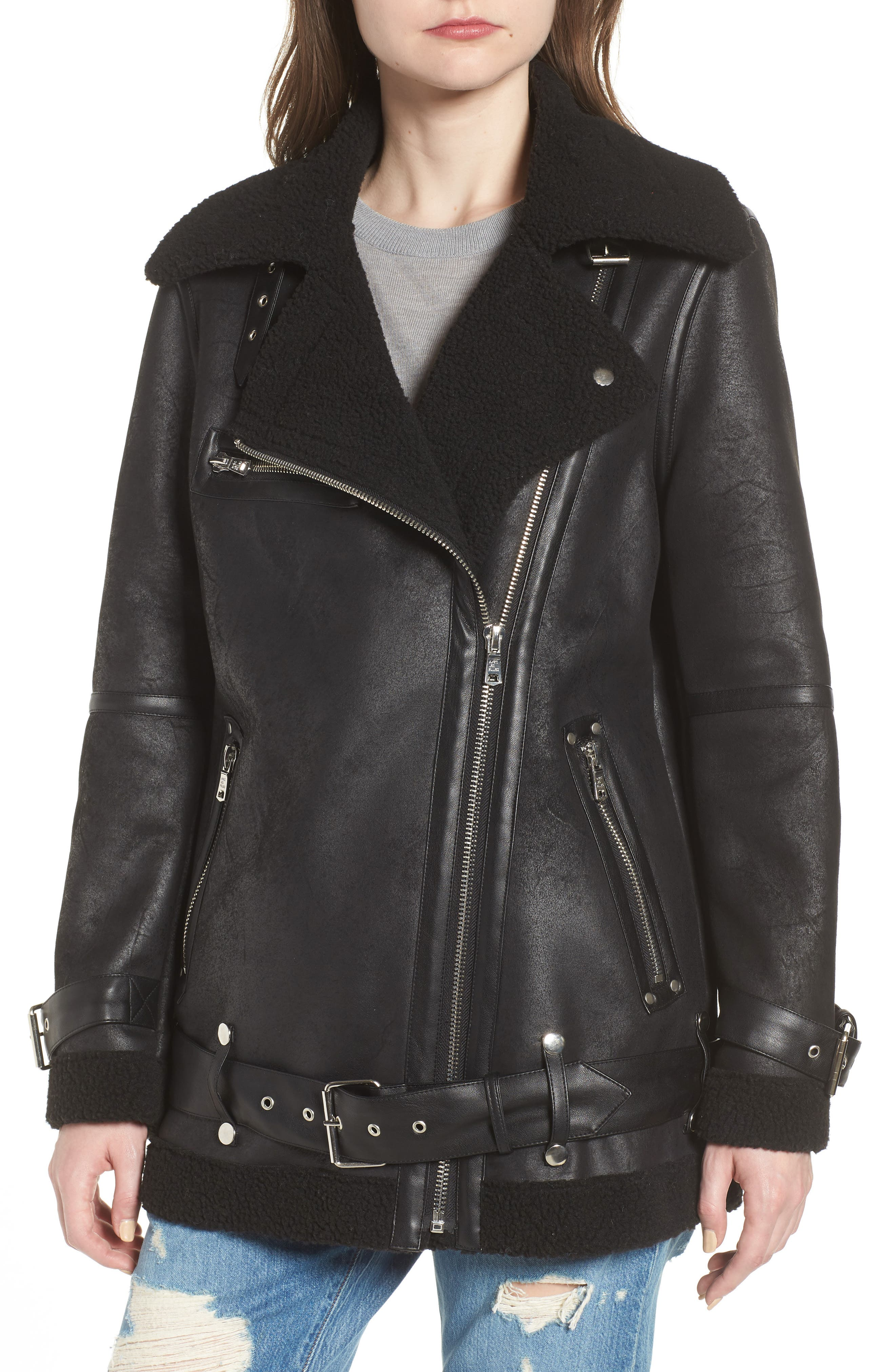 Faux Shearling Biker Jacket,                             Alternate thumbnail 4, color,                             BLACK