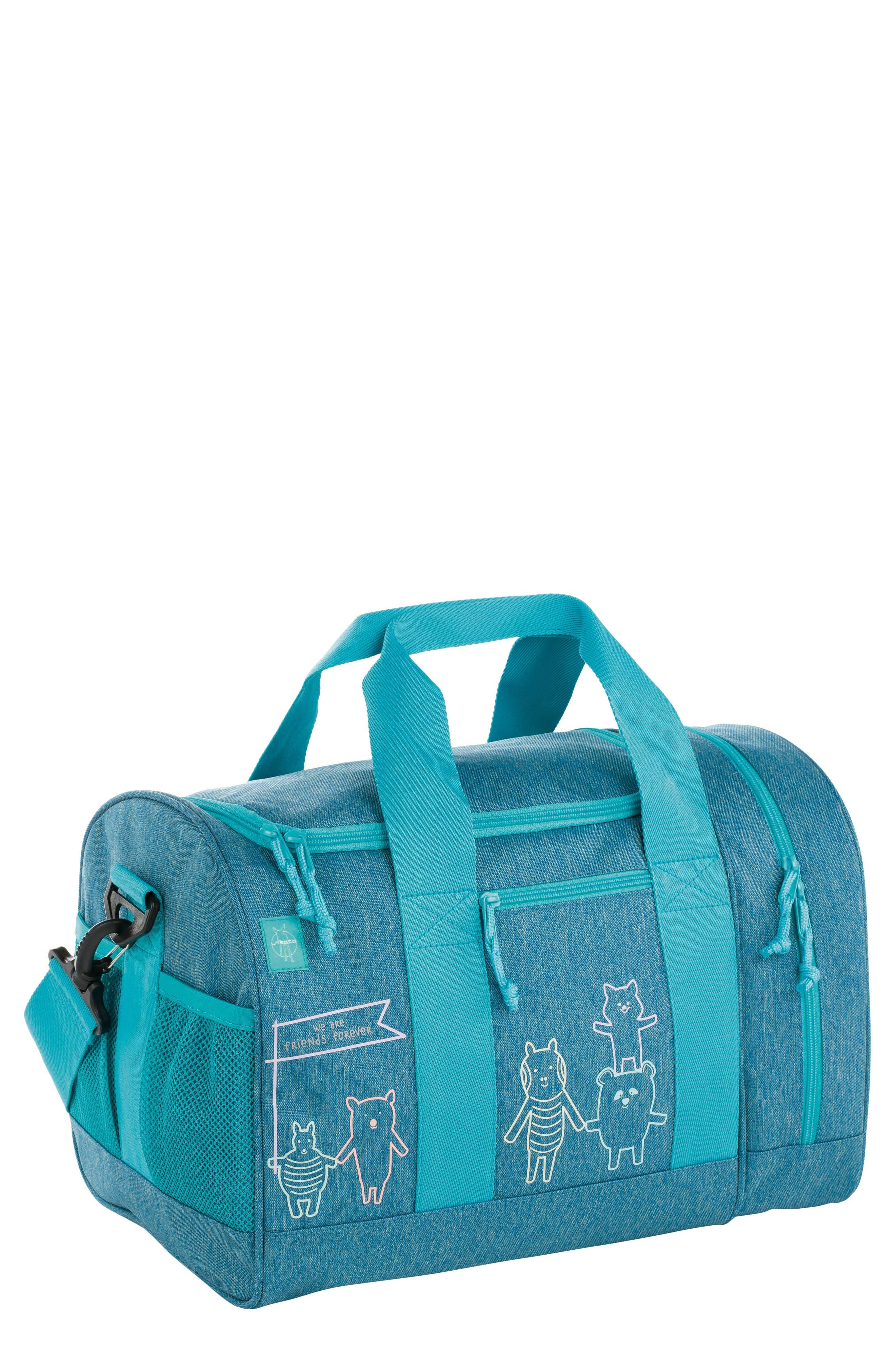 Mini About Friends Duffel Bag,                             Main thumbnail 1, color,                             MELANGE BLUE