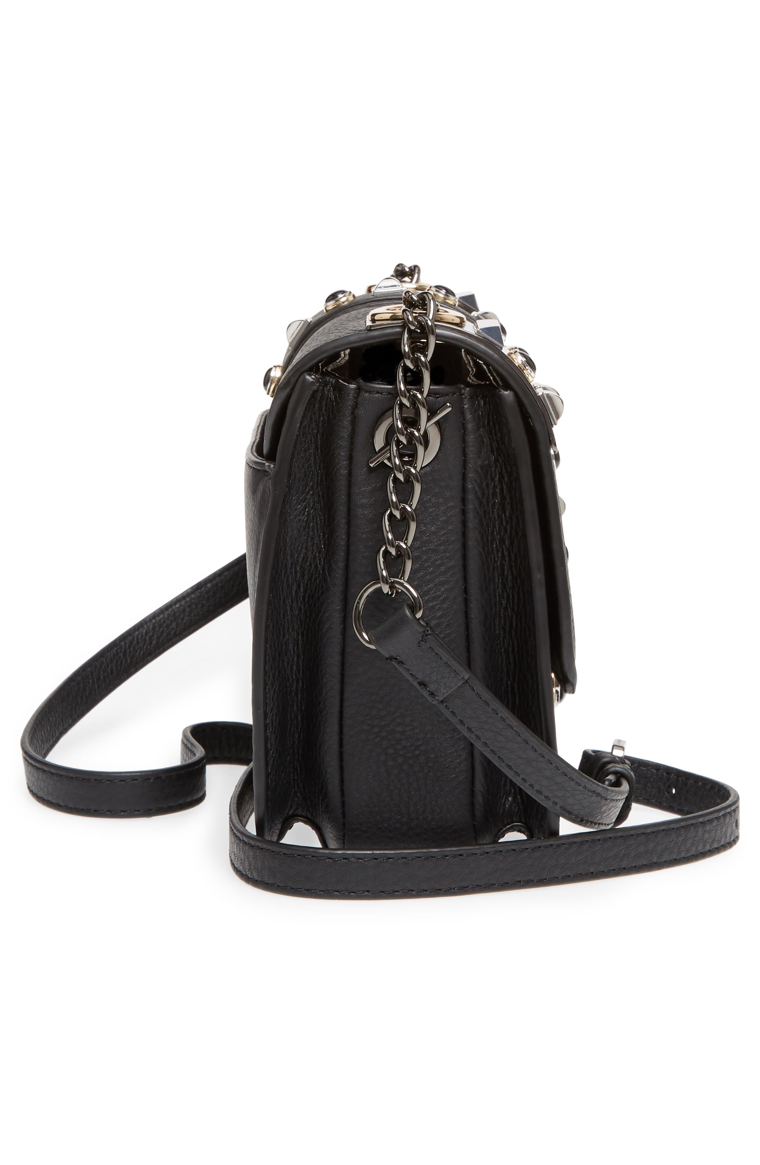 Bitty Studded Leather Shoulder Bag,                             Alternate thumbnail 5, color,                             002