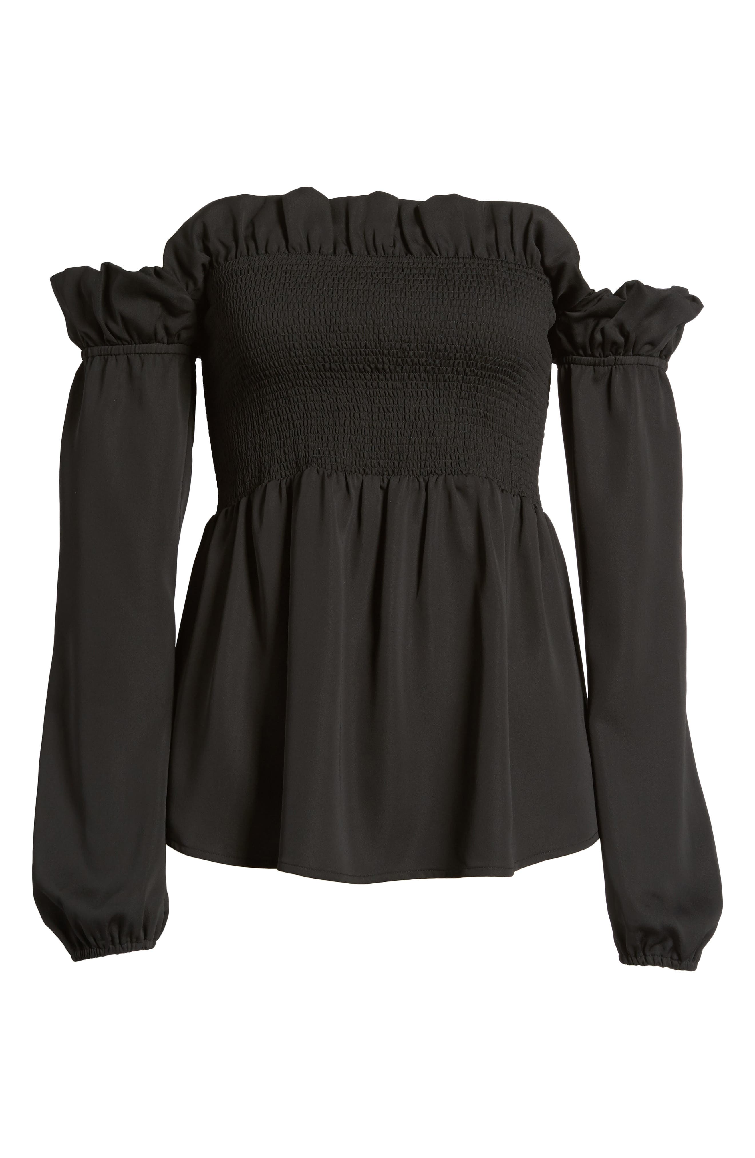 Smocked Top,                             Alternate thumbnail 6, color,                             001