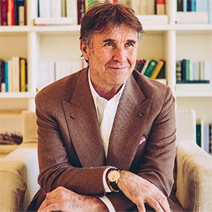 Brunello Cucinelli in his Tower office in Solomeo.