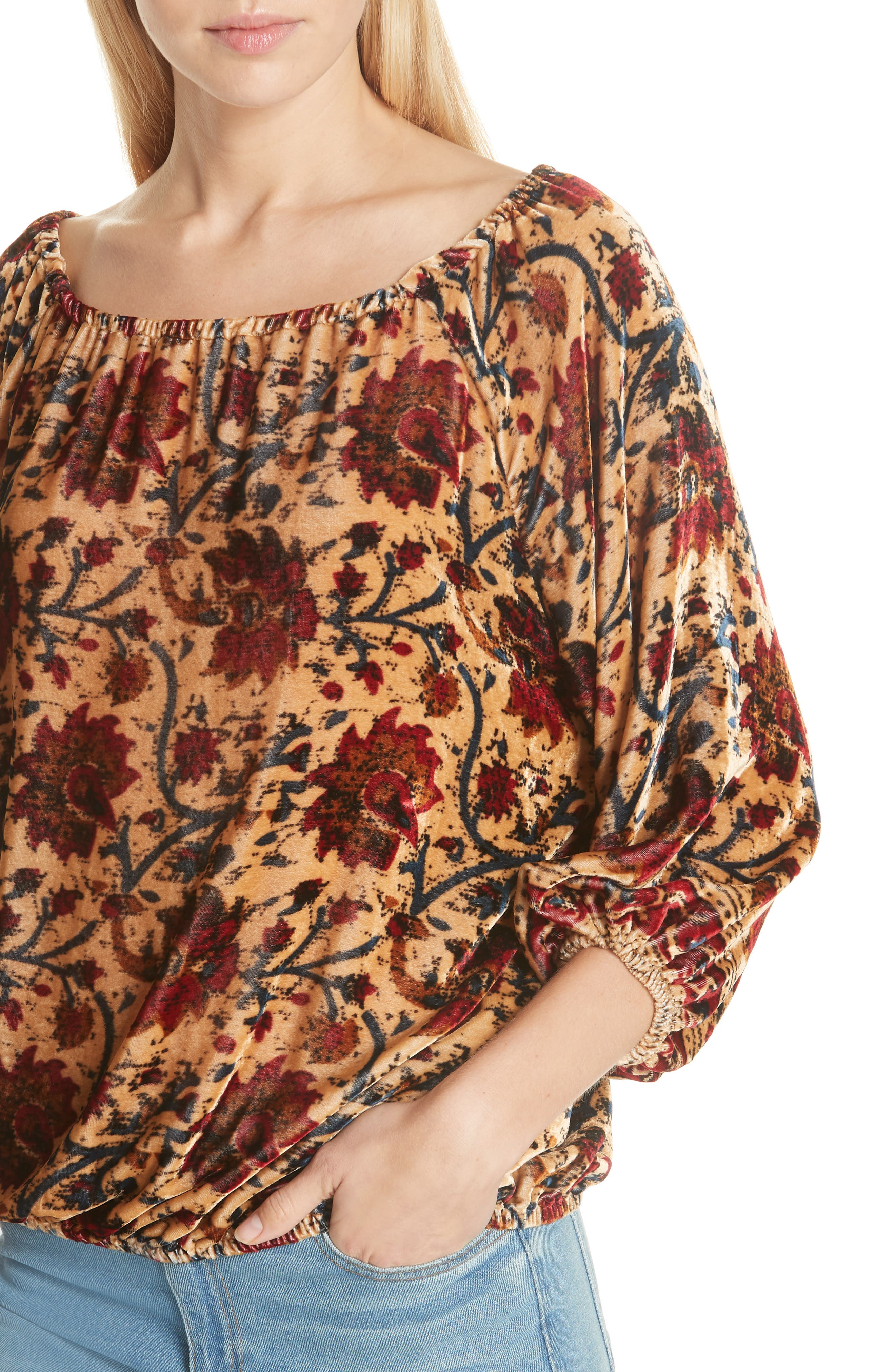 Cherie Velvet Blouse,                             Alternate thumbnail 4, color,                             FLORAL MULTI