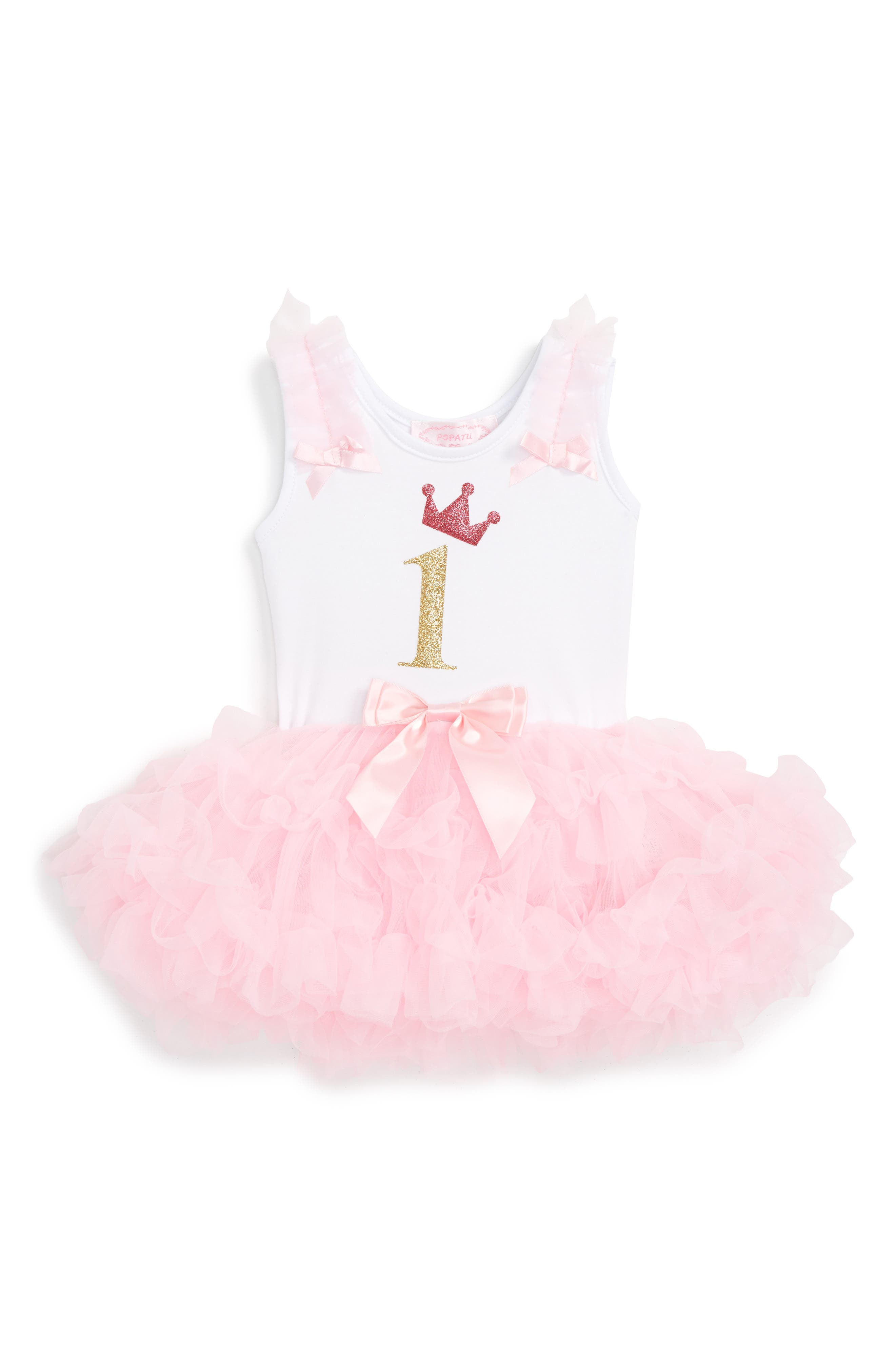 Birthday Tutu Dress,                         Main,                         color, PINK