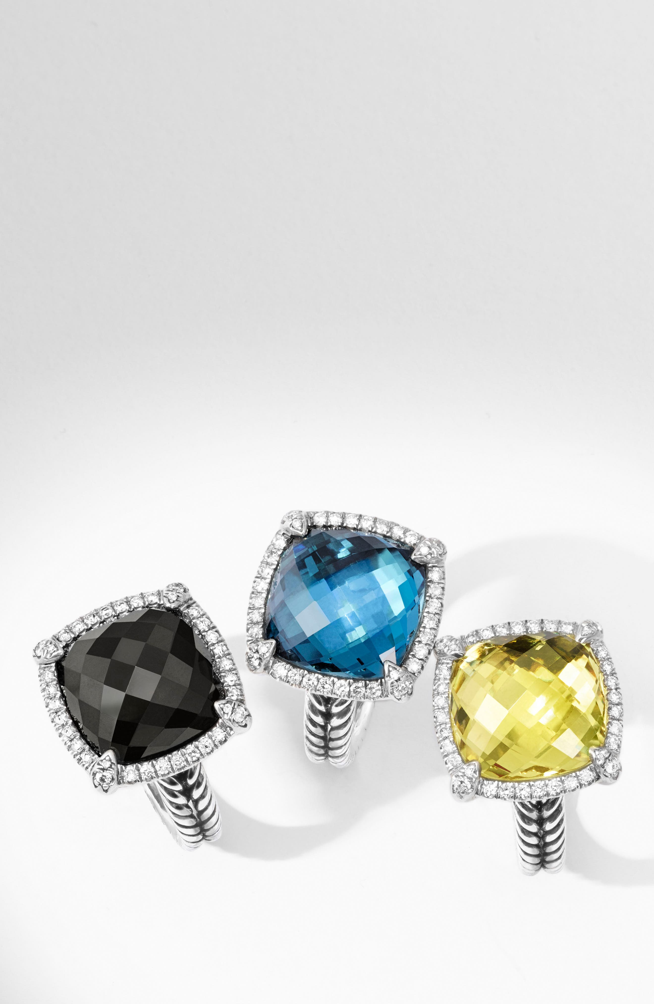 'Châtelaine' Small Pavé Bezel Ring with Diamonds,                             Alternate thumbnail 5, color,                             BLACK ONYX