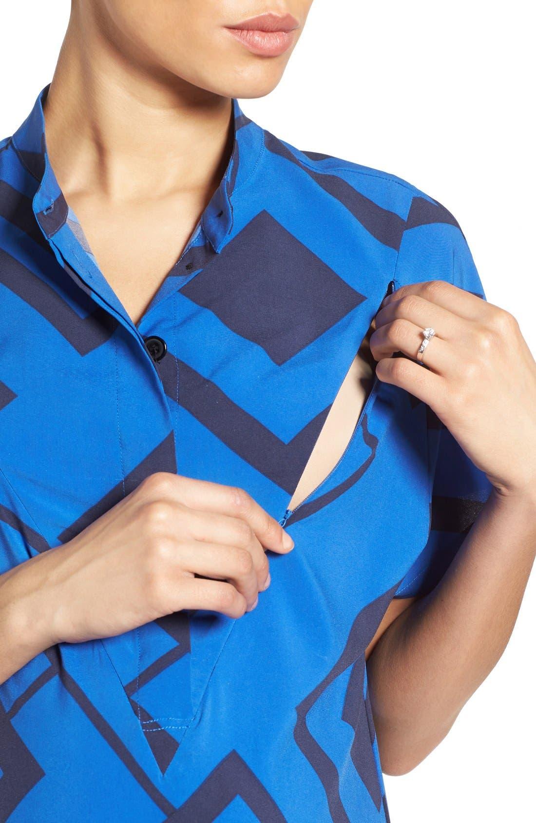 'Erin' Print Maternity/Nursing Shirtdress,                             Alternate thumbnail 4, color,                             BLUE DIAMOND