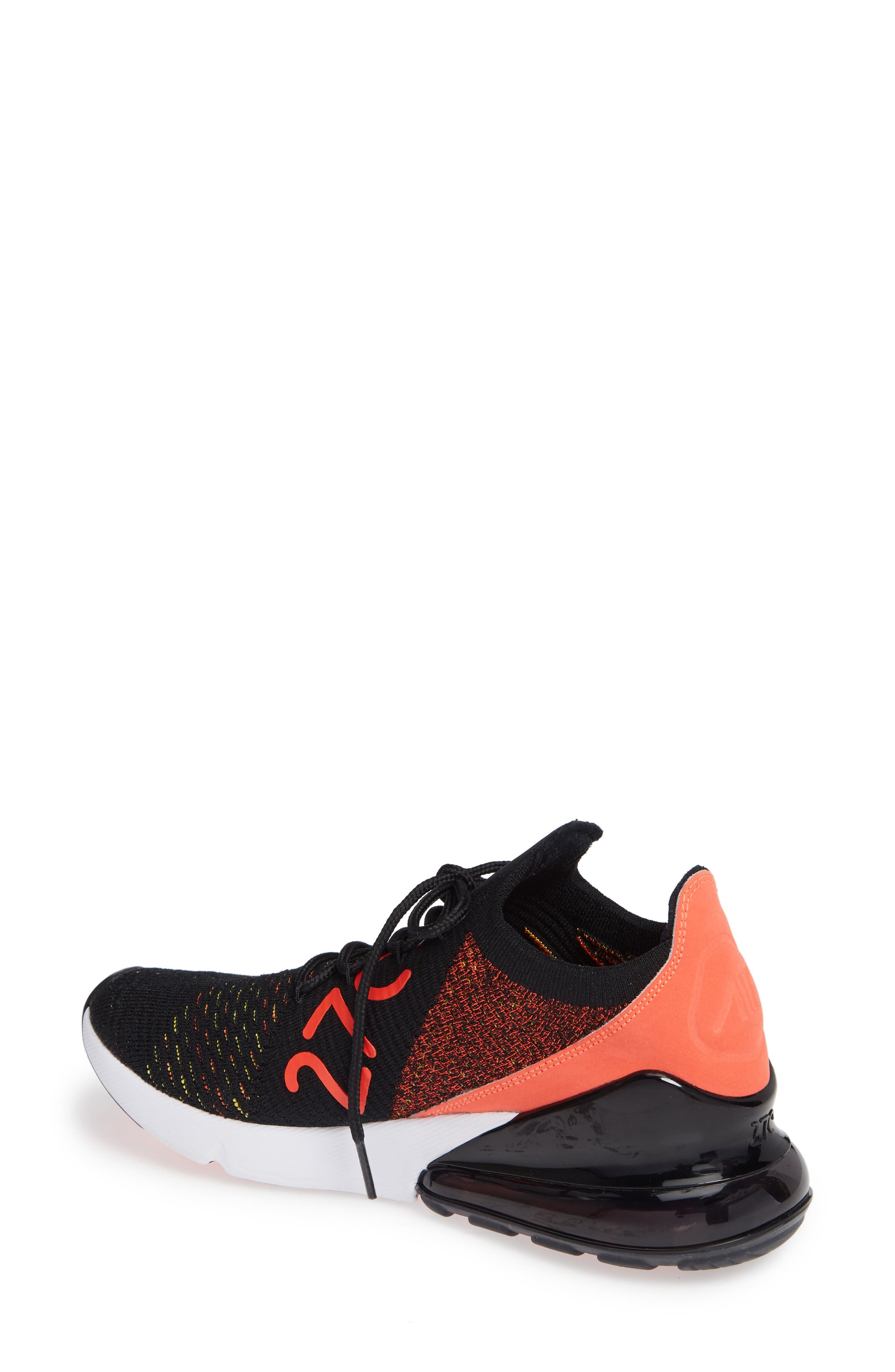 Air Max 270 Flyknit Sneaker,                             Alternate thumbnail 2, color,                             BLACK/ YELLOW STRIKE/ CRIMSON