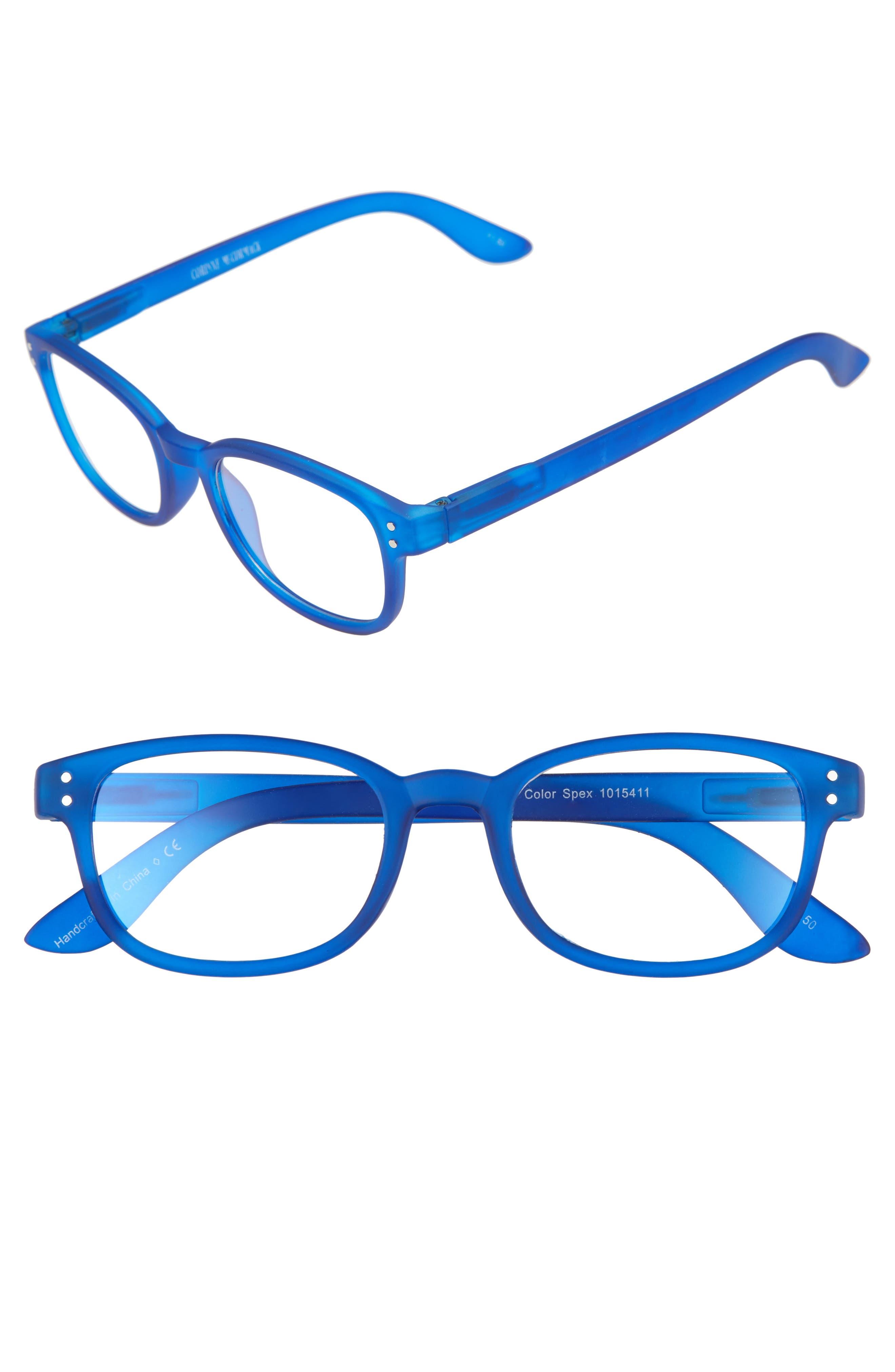 ColorSpex<sup>®</sup> 50mm Blue Light Blocking Reading Glasses,                         Main,                         color, BLUE