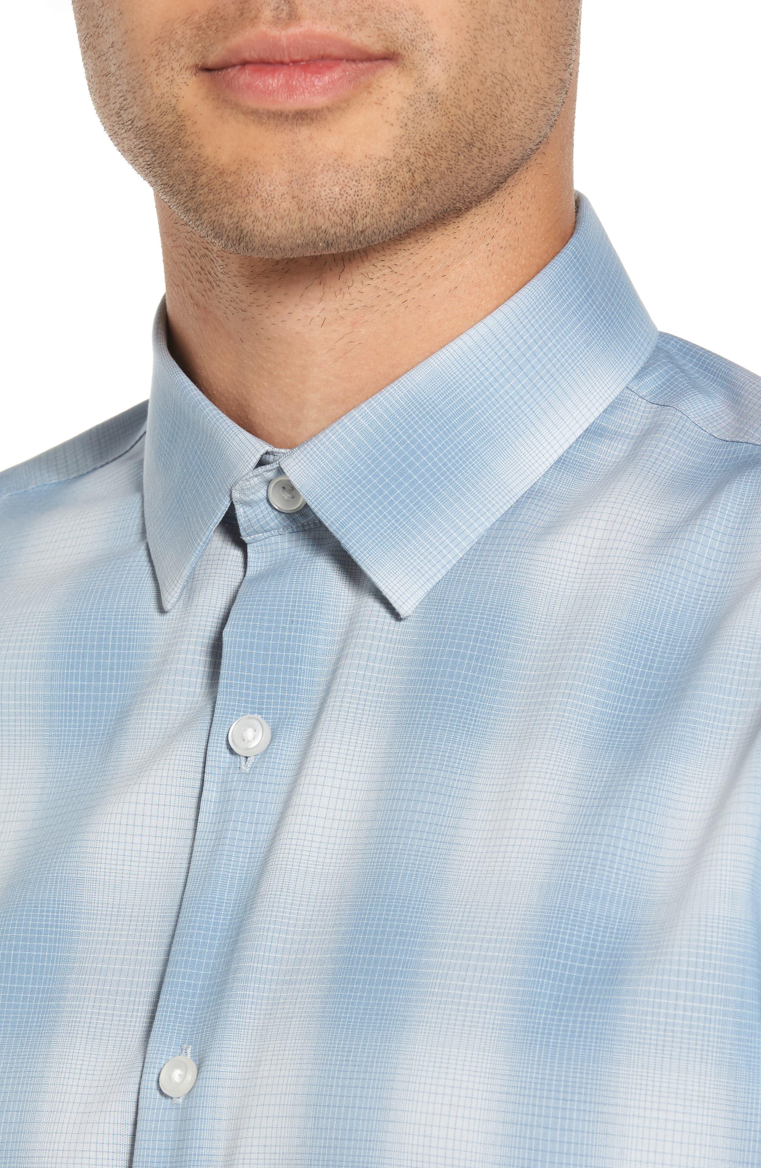 Trim Fit Plaid Sport Shirt,                             Alternate thumbnail 8, color,