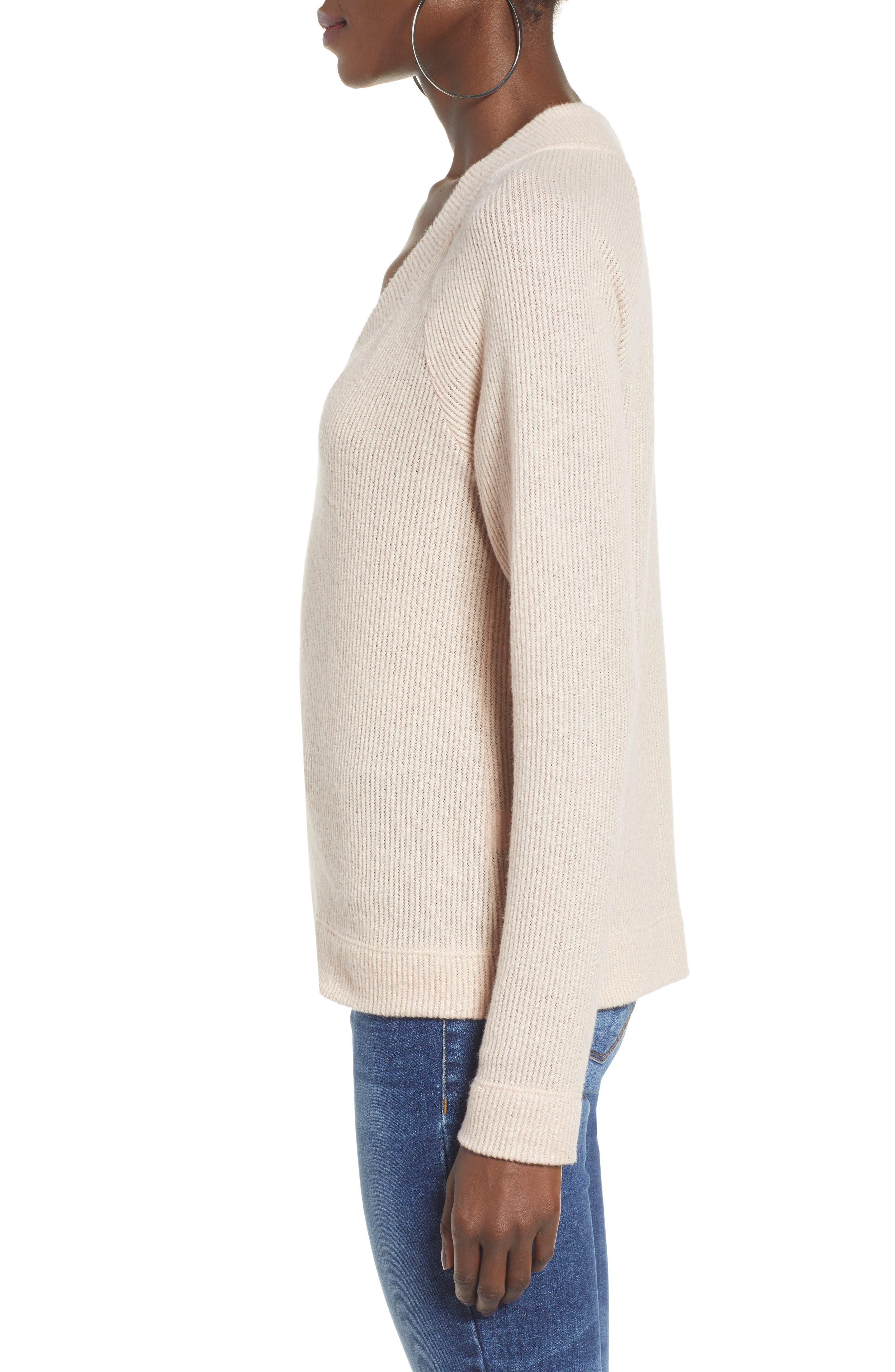 Side Button Sweater,                             Alternate thumbnail 4, color,                             BLUSH