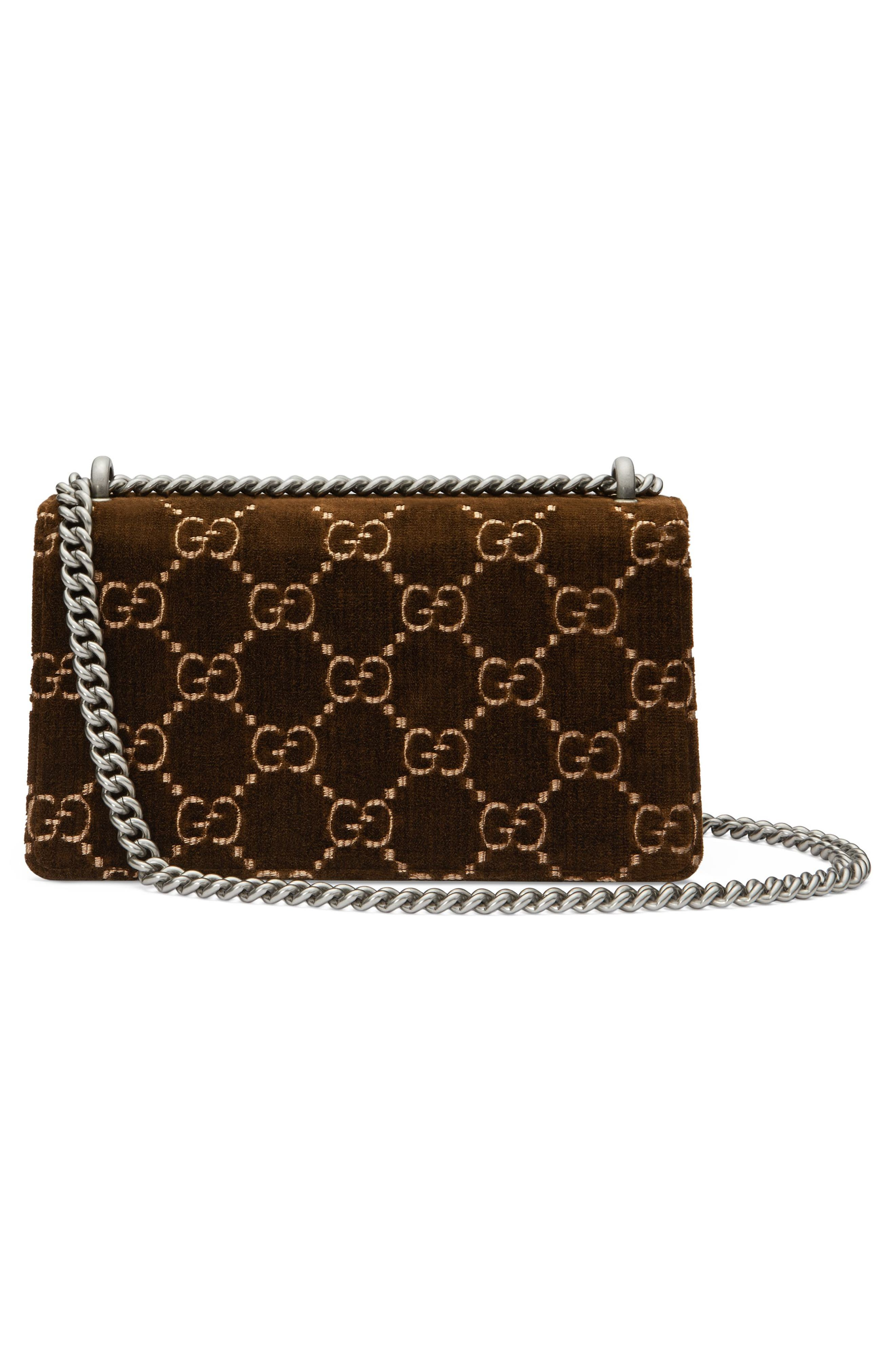 Small Dionysus GG Velvet Shoulder Bag,                             Alternate thumbnail 2, color,                             BROWN