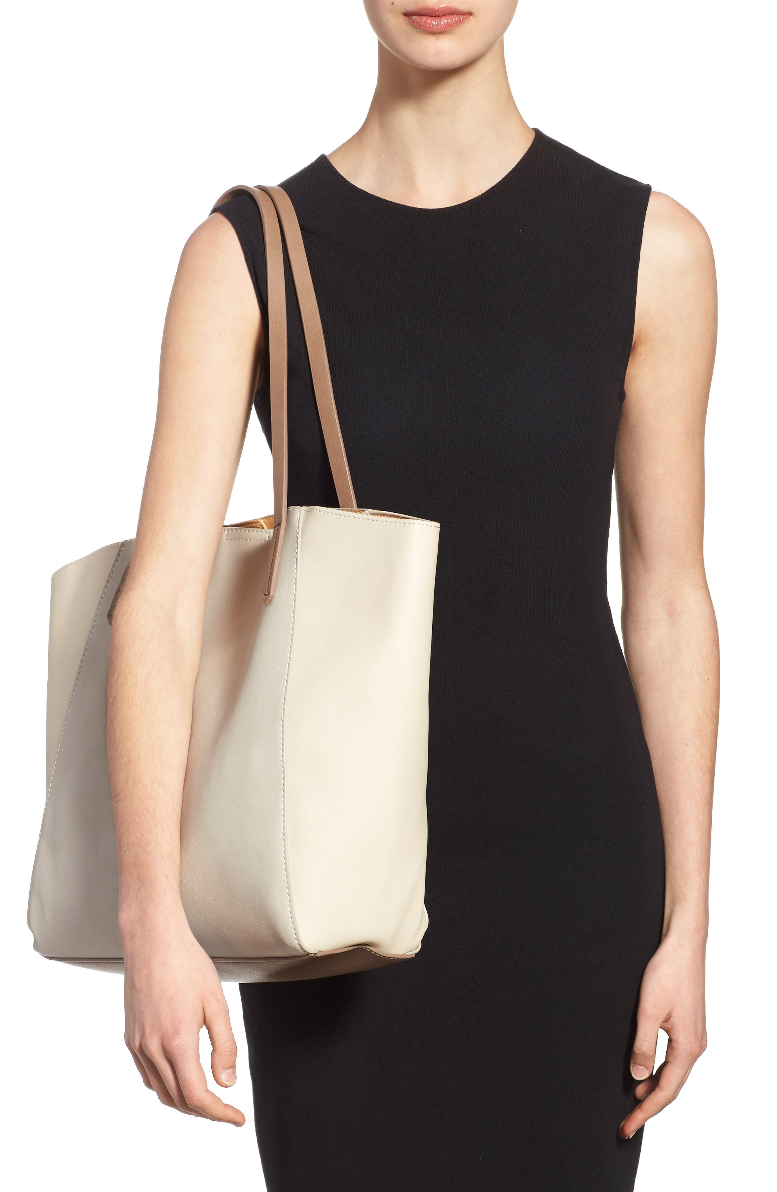 Colorblock Faux Leather Tote,                             Alternate thumbnail 11, color,