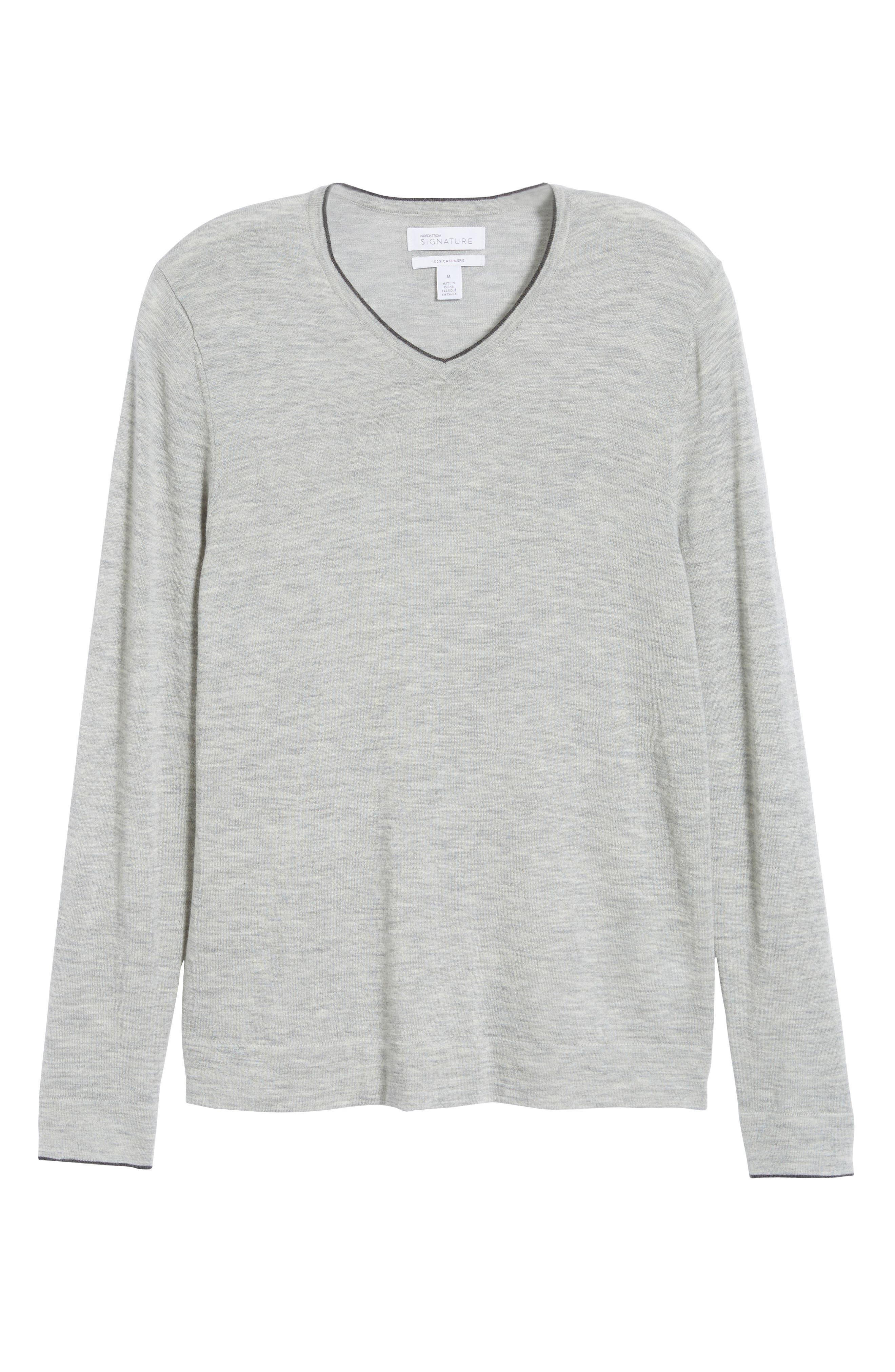 NORDSTROM SIGNATURE,                             Cashmere V-Neck Sweater,                             Alternate thumbnail 6, color,                             050