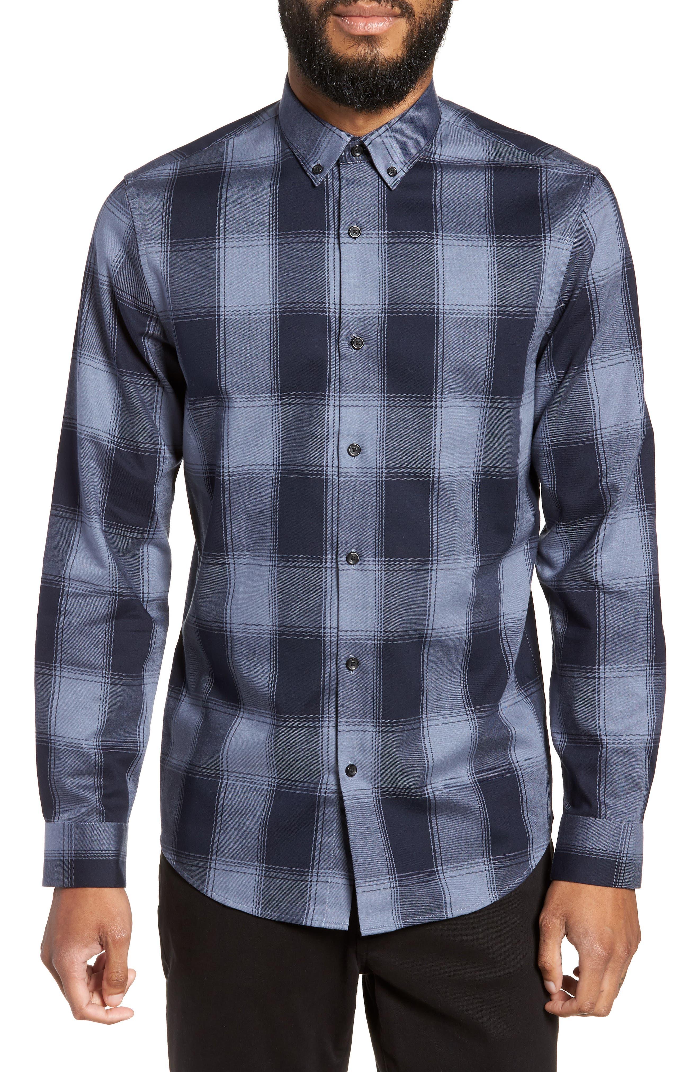 Slim Fit Mini Collar Buffalo Check Flannel Sport Shirt,                         Main,                         color, GREY FOLKSTONE NAVY BUFFALO
