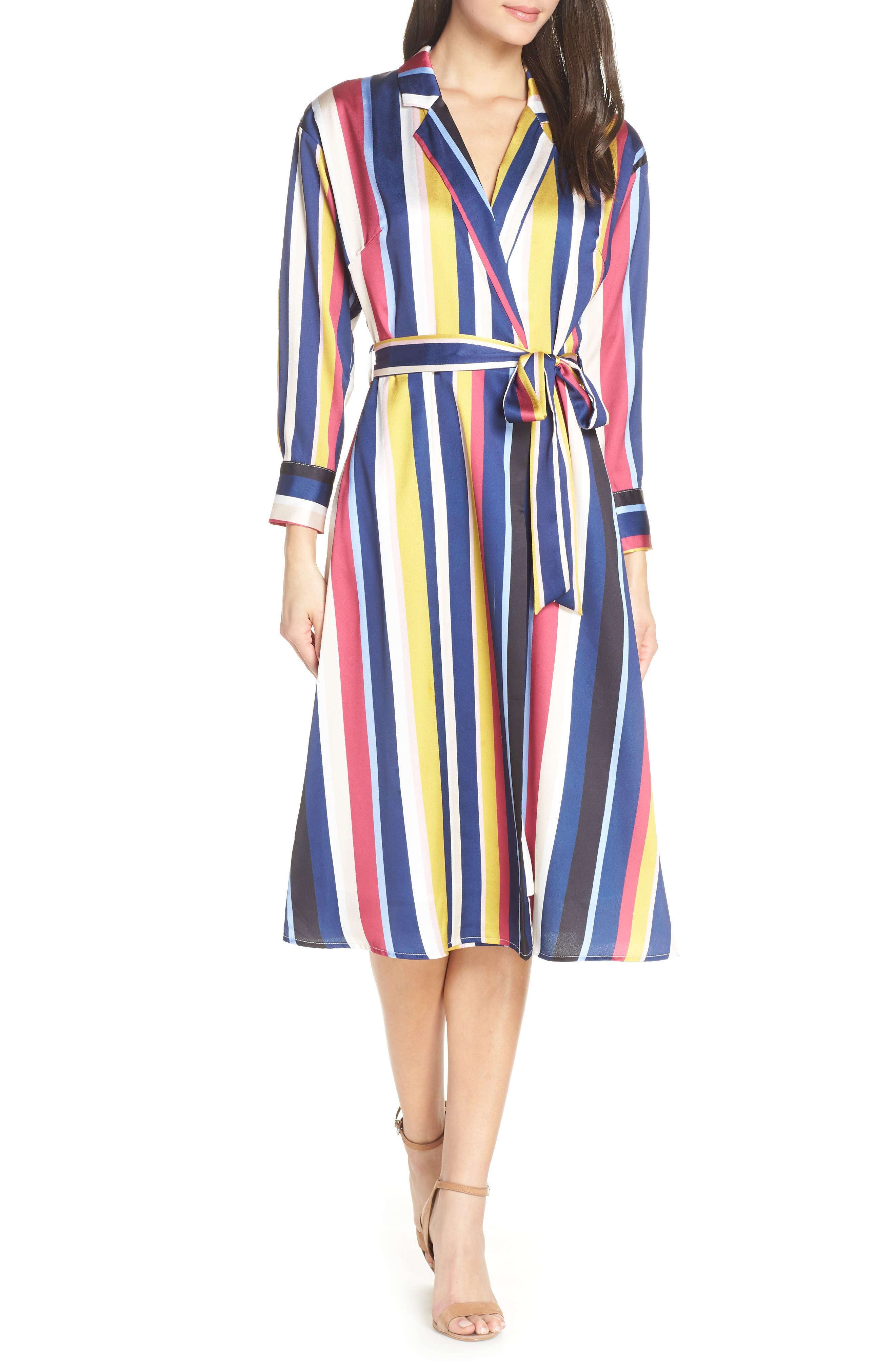70s Dresses – Disco Dresses, Hippie Dresses, Wrap Dresses Womens Chelsea28 Stripe Shirtdress $129.00 AT vintagedancer.com