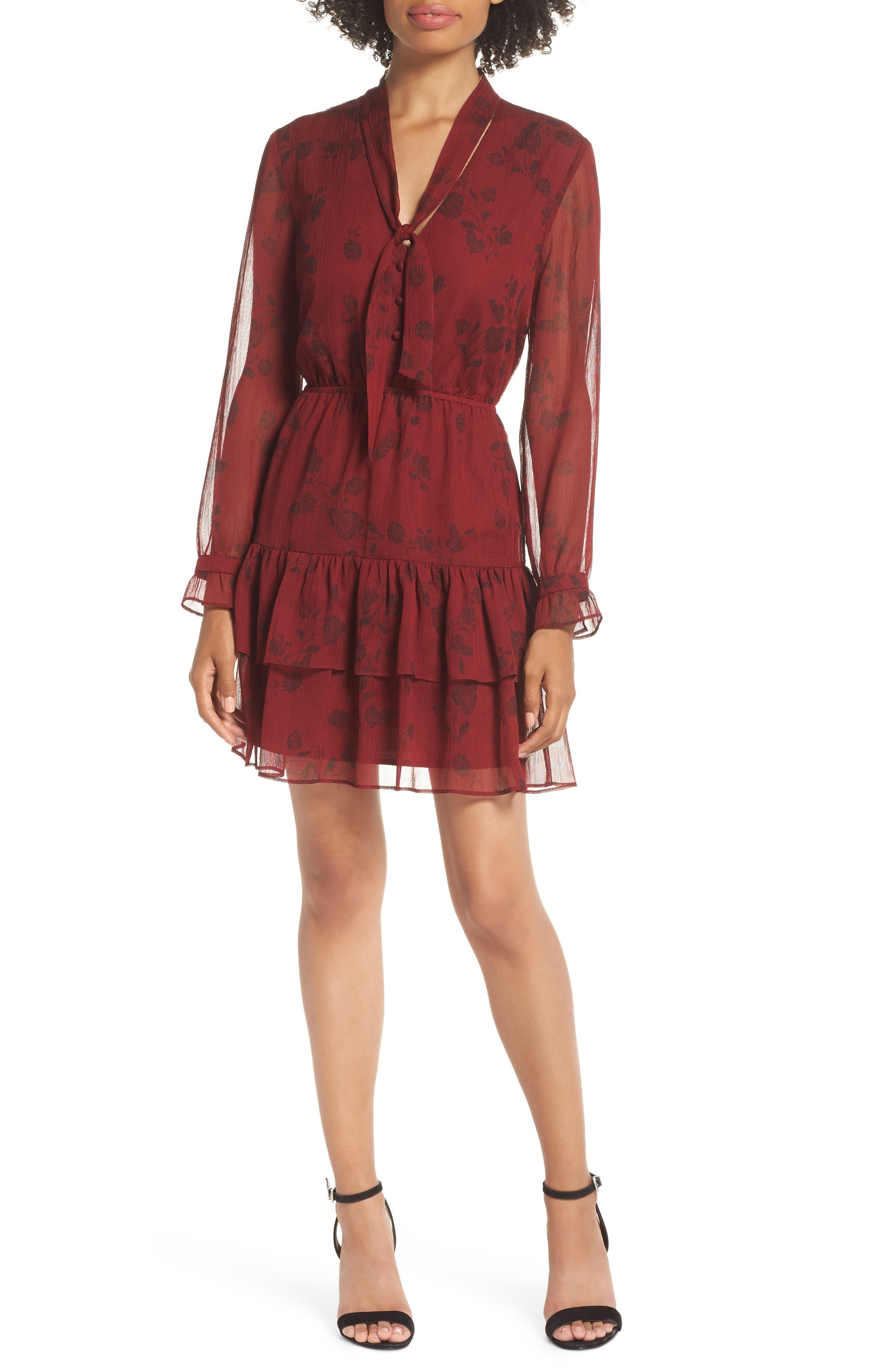 BB DAKOTA Wine Down Print Chiffon Dress, Main, color, SUNDRIED TOMATO