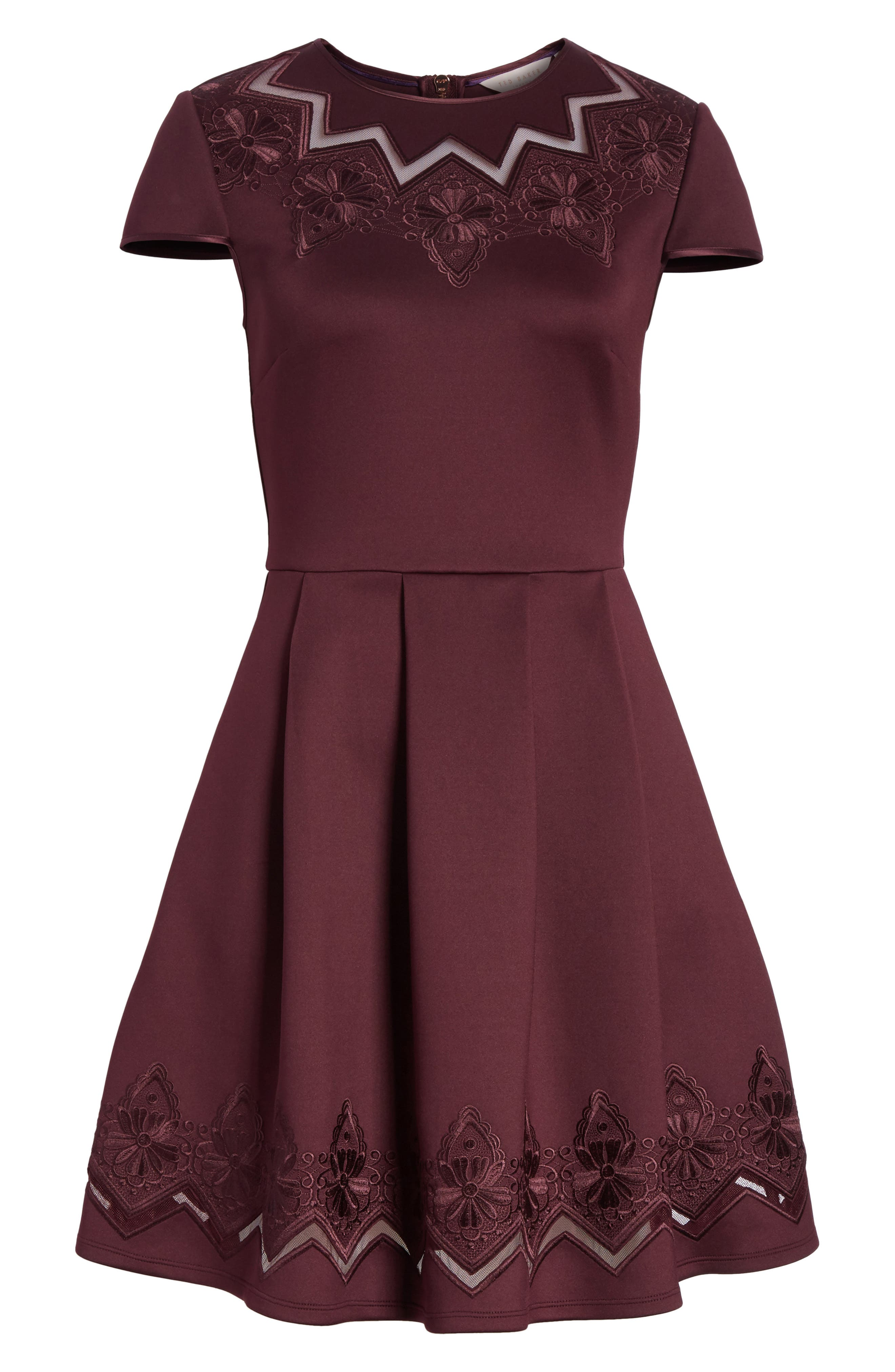 Mesh & Lace Trim Skater Dress,                             Alternate thumbnail 12, color,