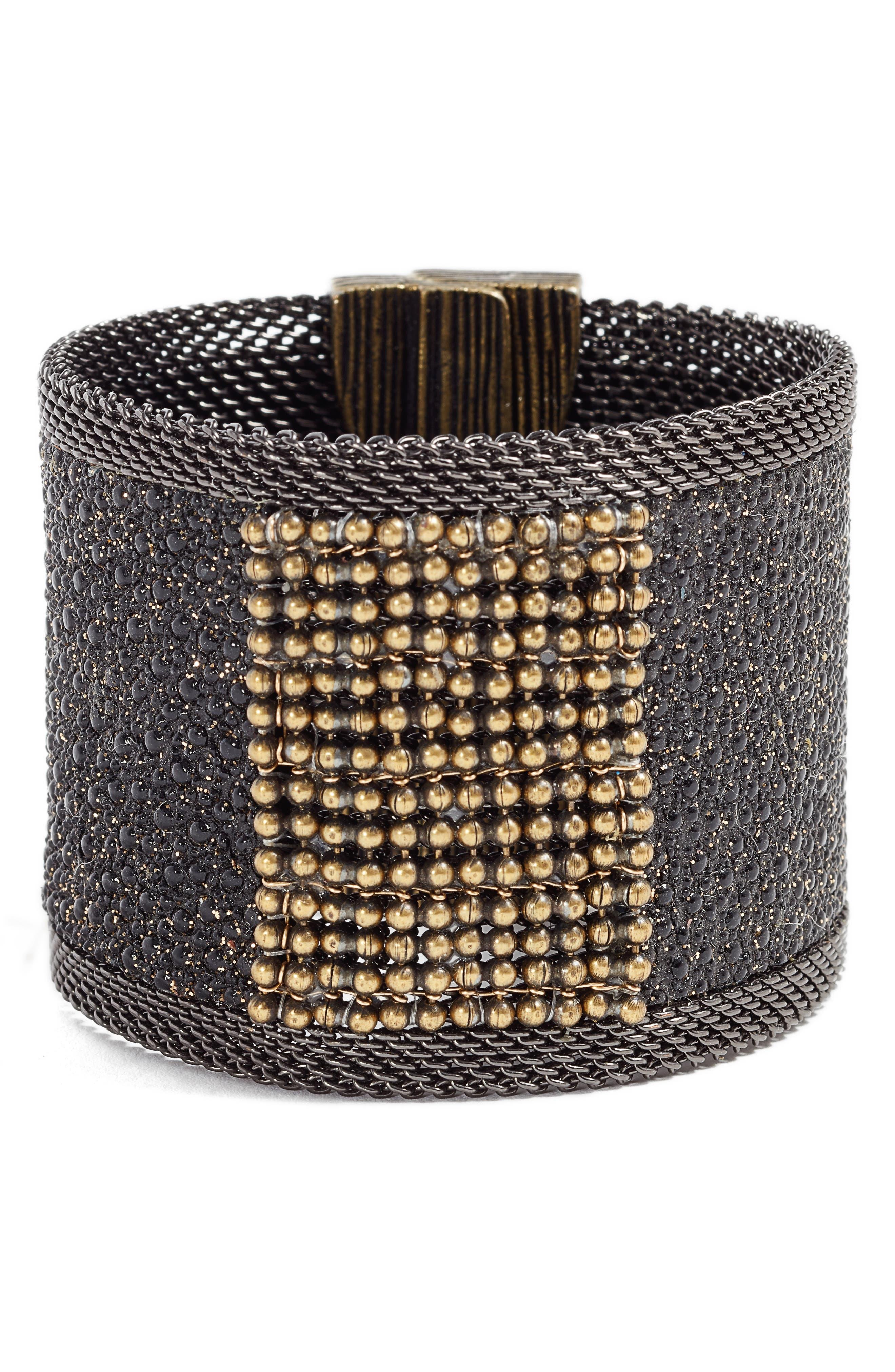 Wide Shimmer Stingray Bracelet,                             Main thumbnail 1, color,                             BLACK/ GOLD/ GUNMETAL