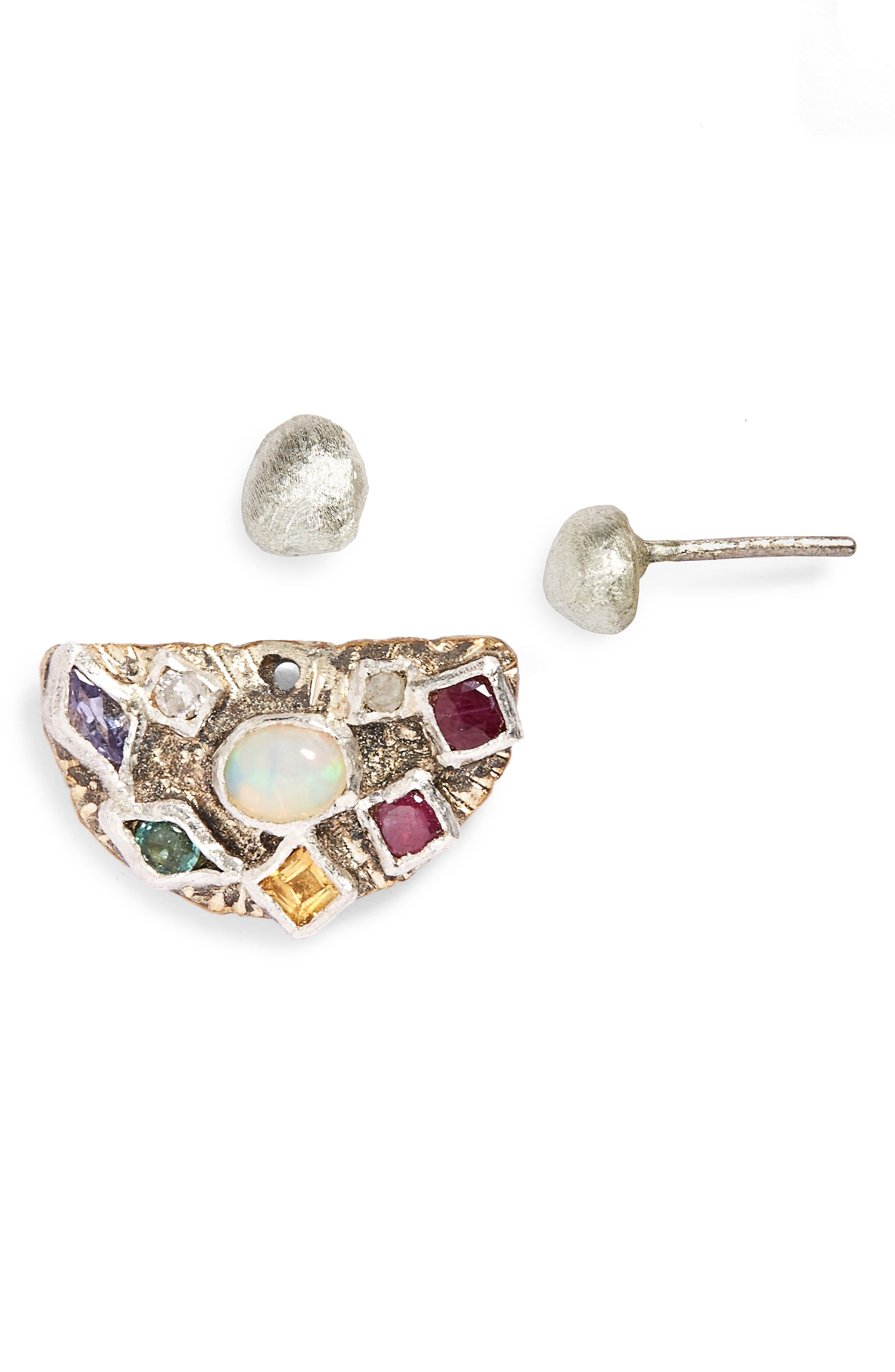 Multistone Ear Jacket with Sterling Silver Stud,                             Main thumbnail 1, color,                             710