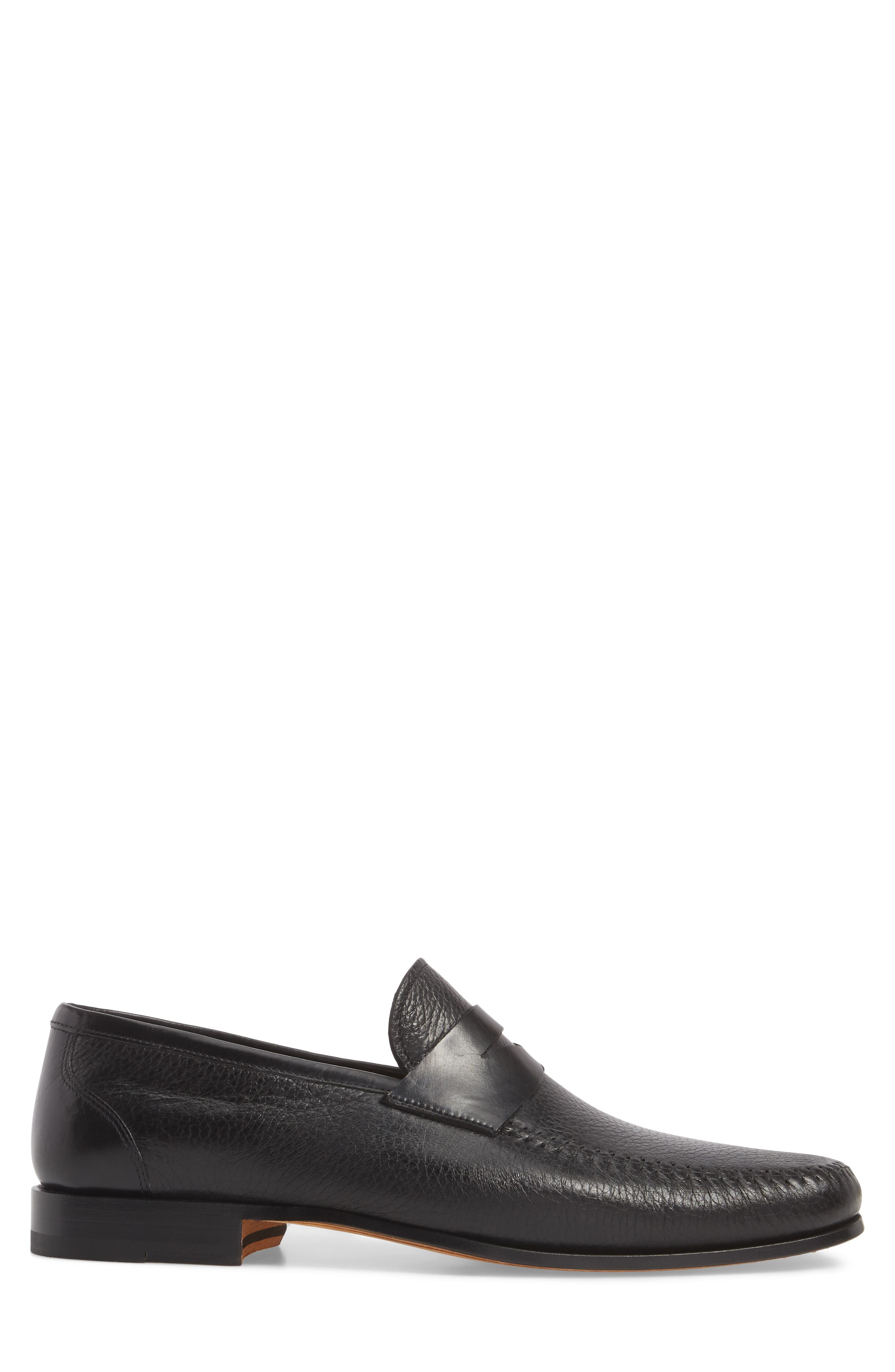 MAGNANNI,                             Ramos Moc Toe Penny Loafer,                             Alternate thumbnail 3, color,                             BLACK/BLACK LEATHER