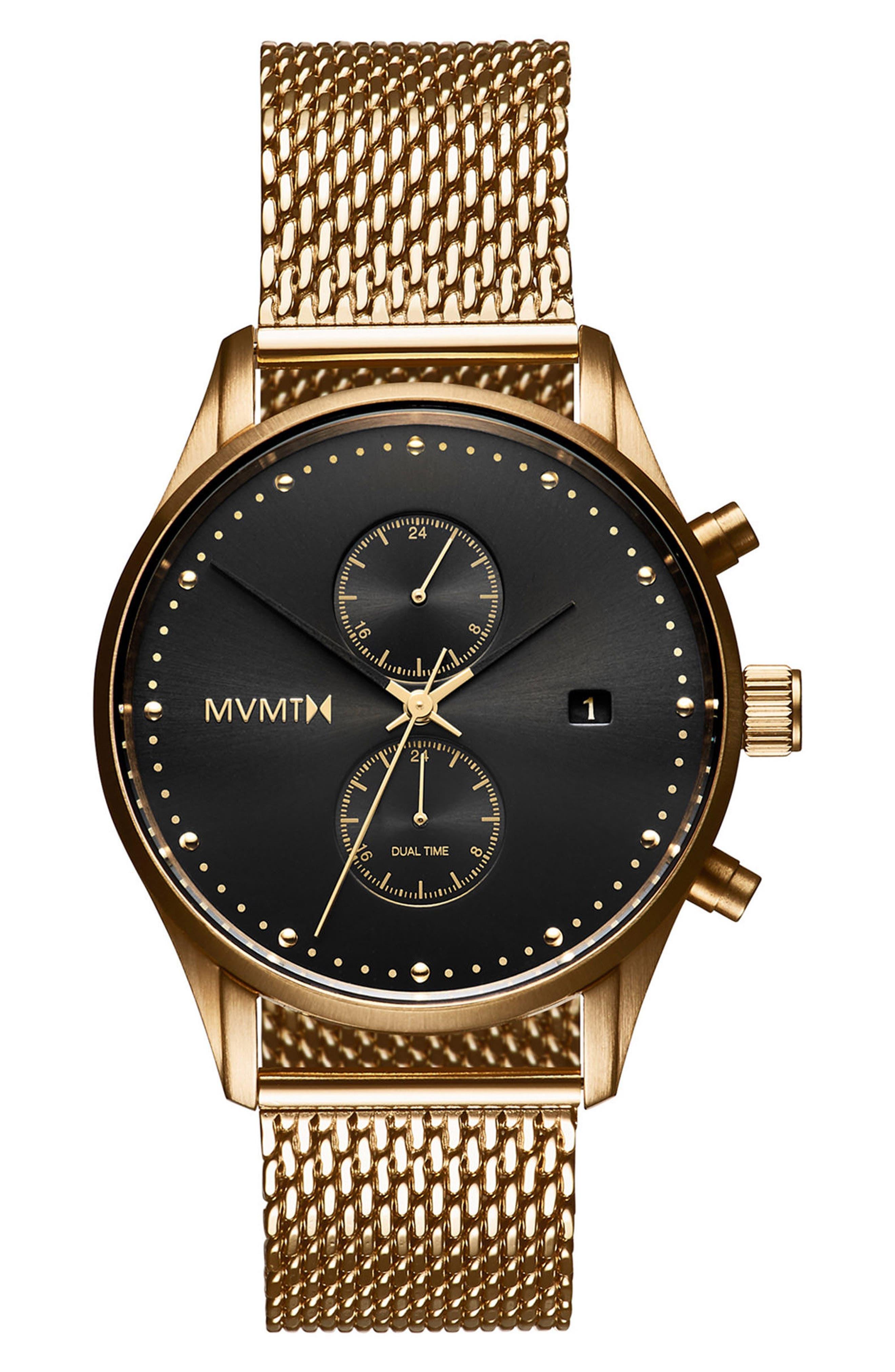 Voyager Chronograph Mesh Strap Watch, 42mm,                             Main thumbnail 1, color,                             BLACK/ GOLD