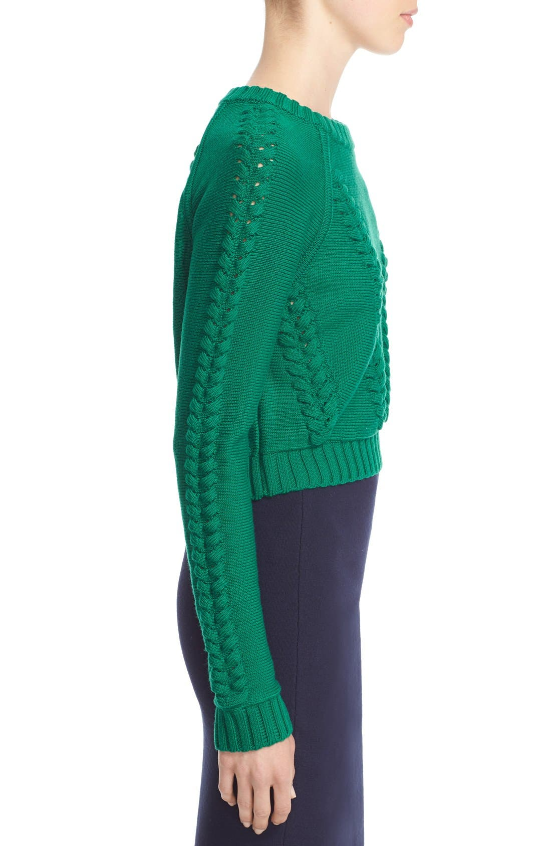 Braid Stitch Wool Crop Sweater,                             Alternate thumbnail 4, color,                             301