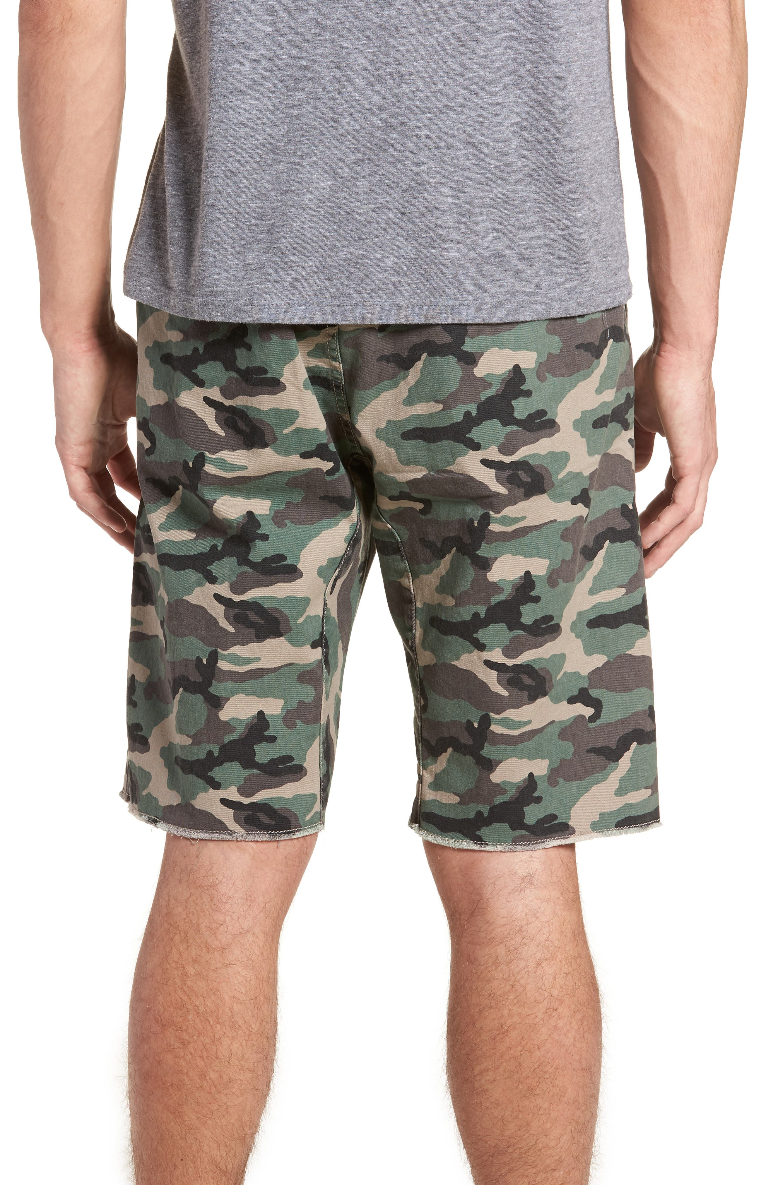 Camo Print Cutoff Twill Shorts,                             Alternate thumbnail 2, color,                             210