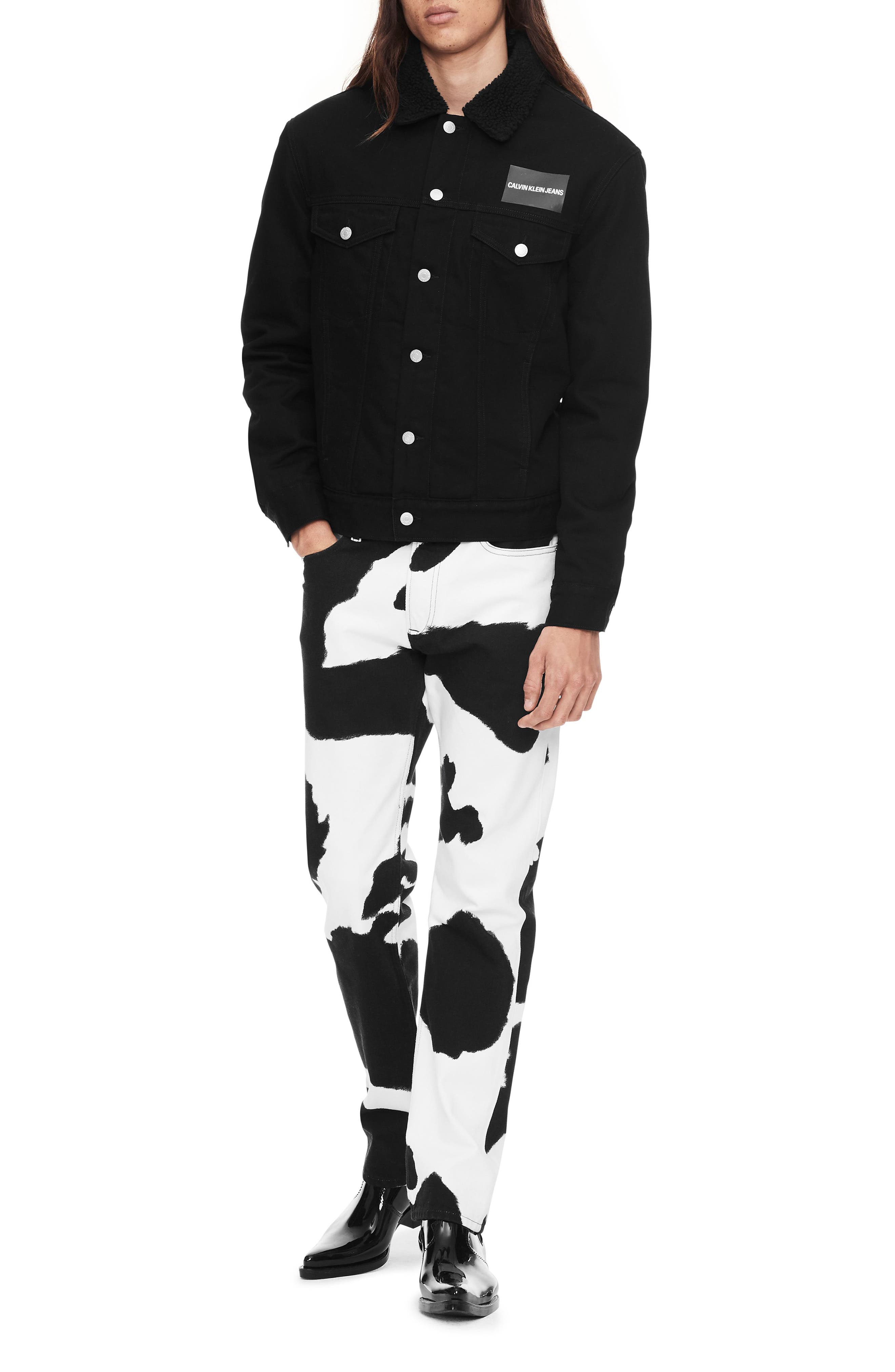 Cow Print Straight Leg Jeans,                             Alternate thumbnail 5, color,                             COW PRINT