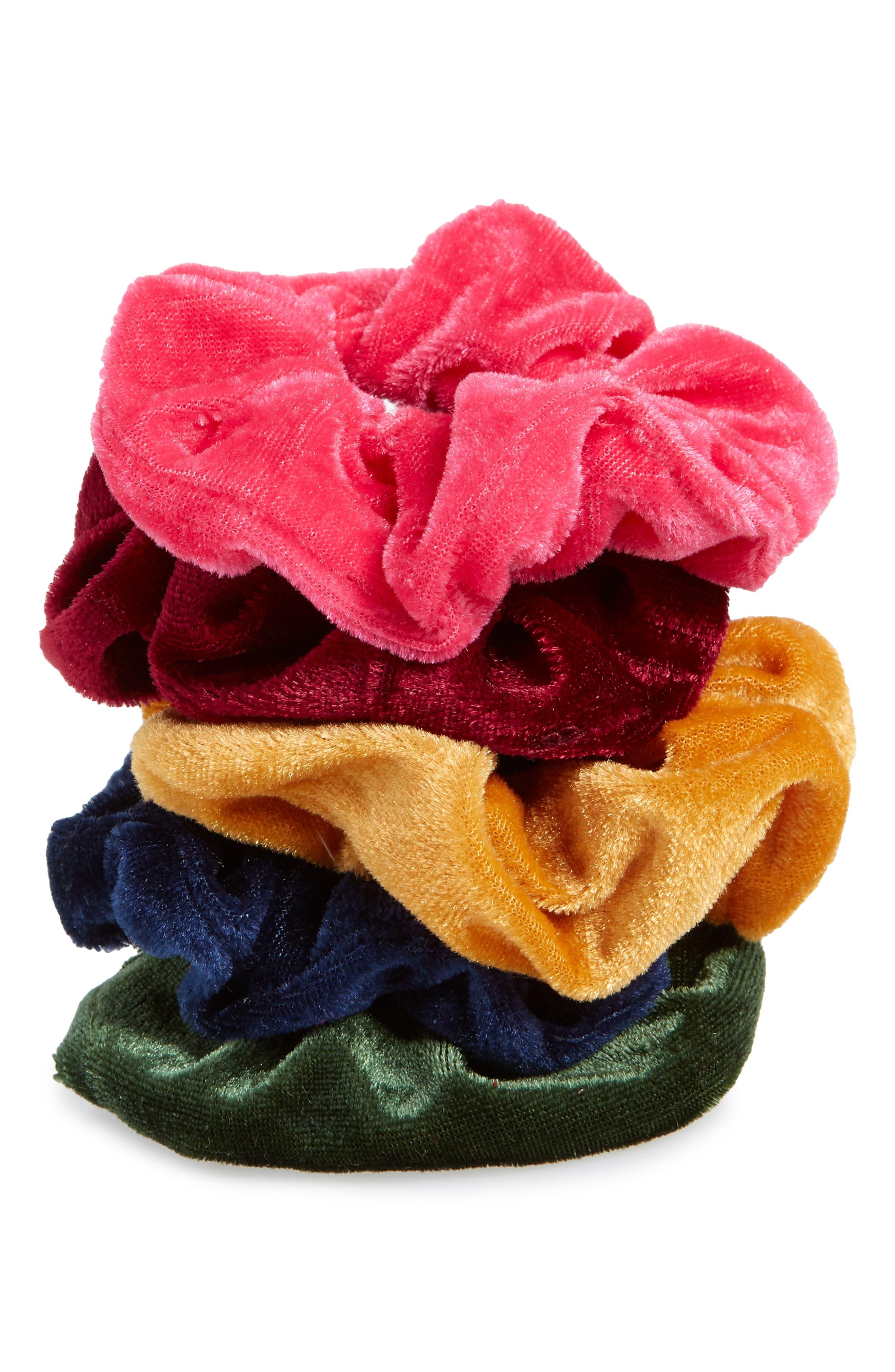 5-Pack Velvet Scrunchies,                             Alternate thumbnail 2, color,                             400