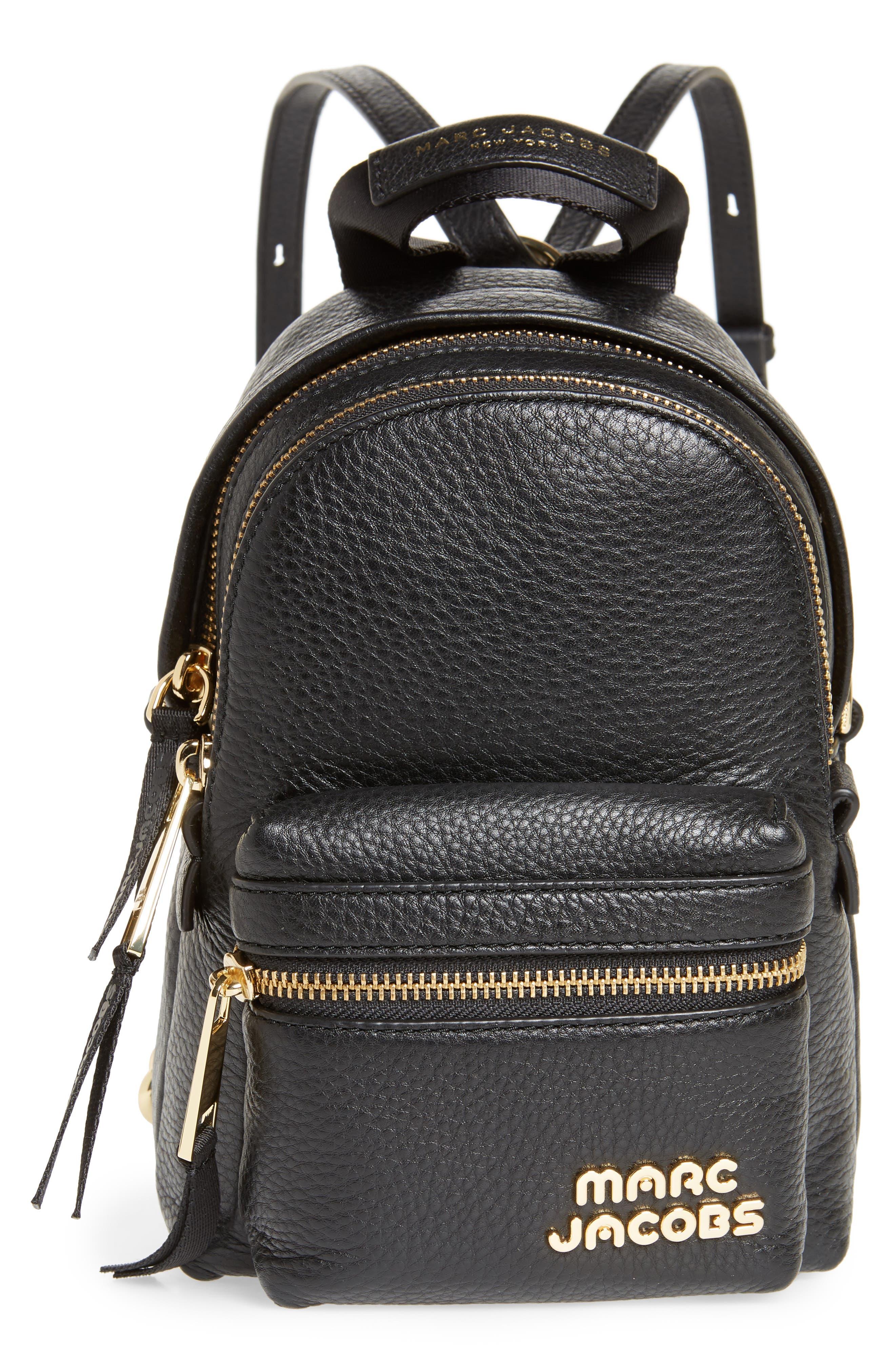 Mini Trek Leather Backpack,                             Main thumbnail 1, color,                             BLACK