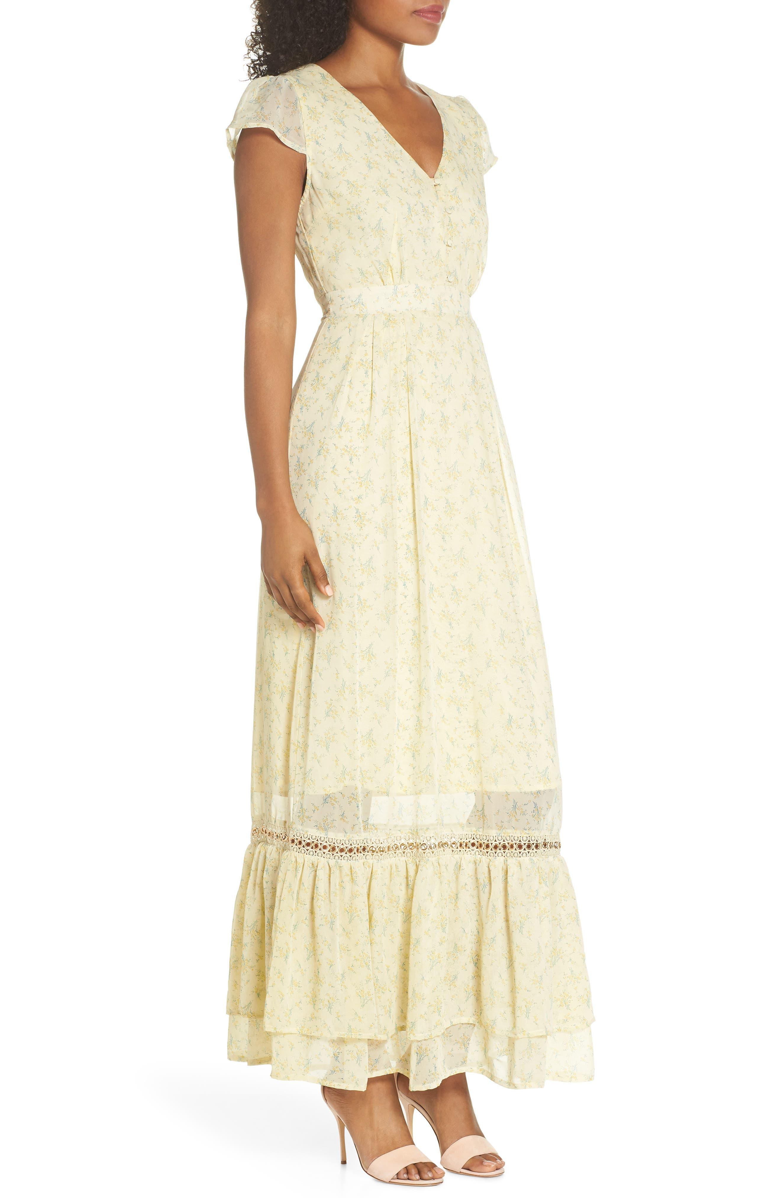 Floral Maxi Dress,                             Alternate thumbnail 3, color,                             700