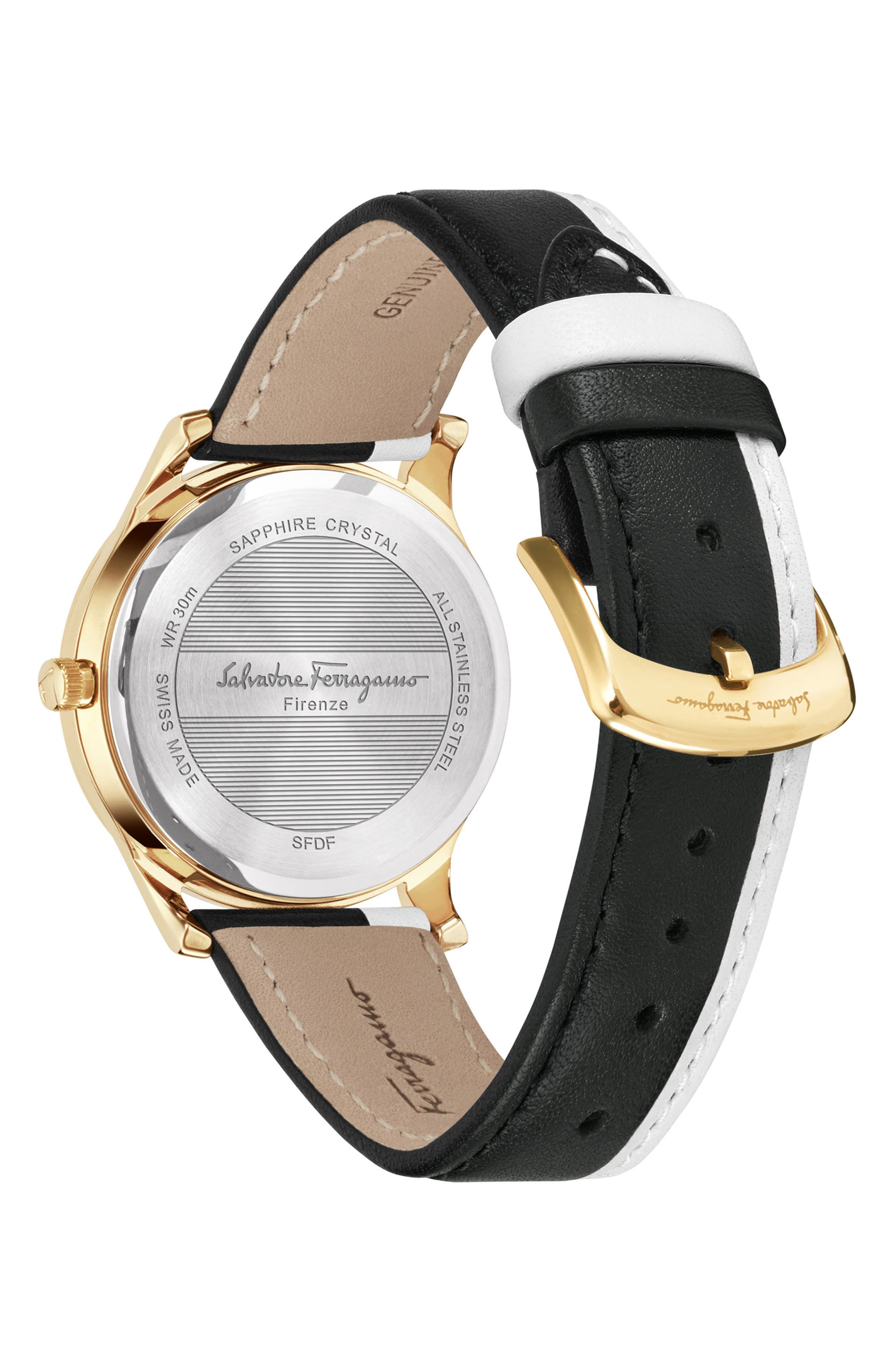 Slim Formal Leather Strap Watch, 35mm,                             Alternate thumbnail 2, color,                             SILVER/ GREY/ GOLD