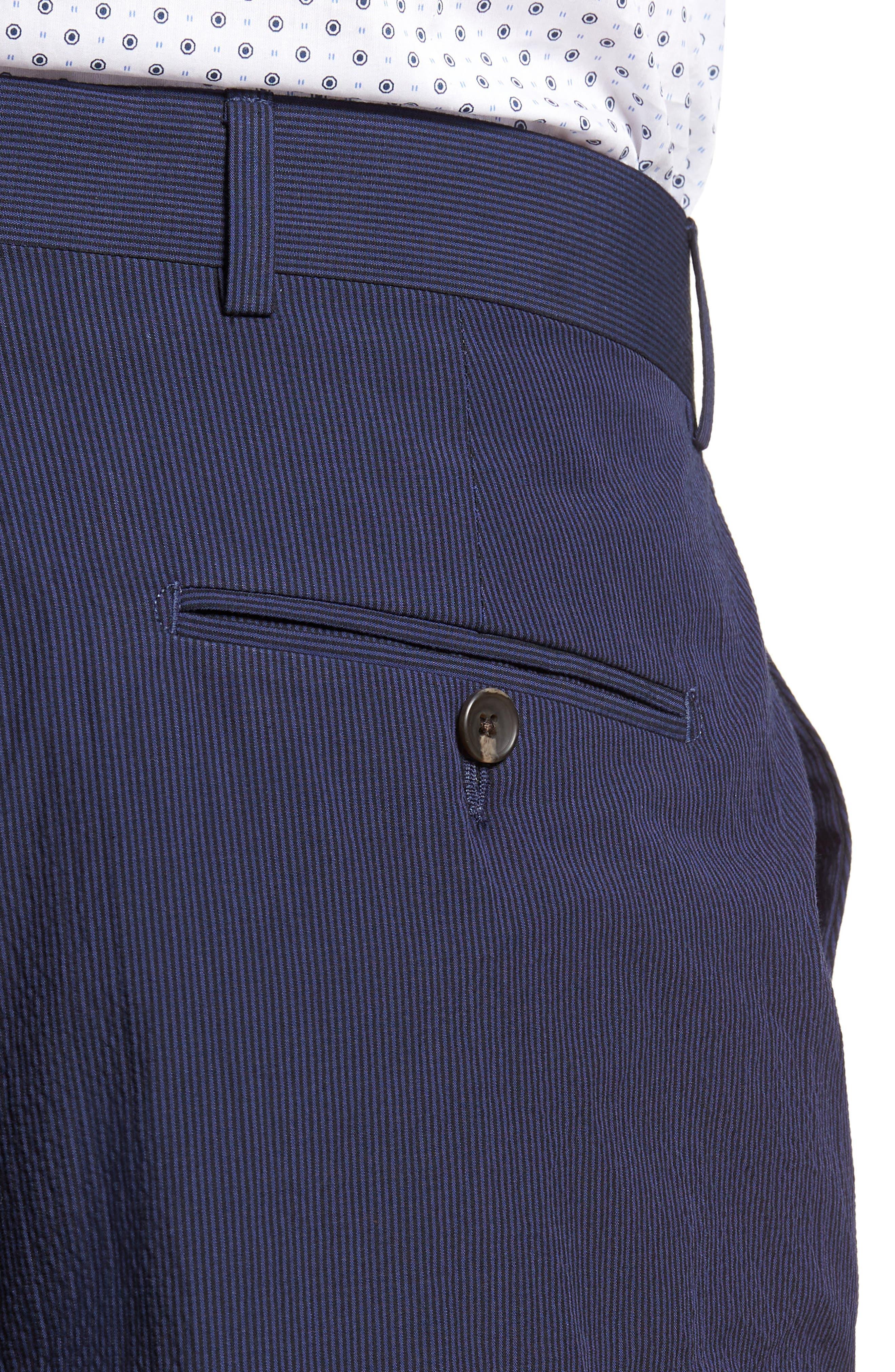 Dagger Flat Front Seersucker Trousers,                             Alternate thumbnail 4, color,                             400