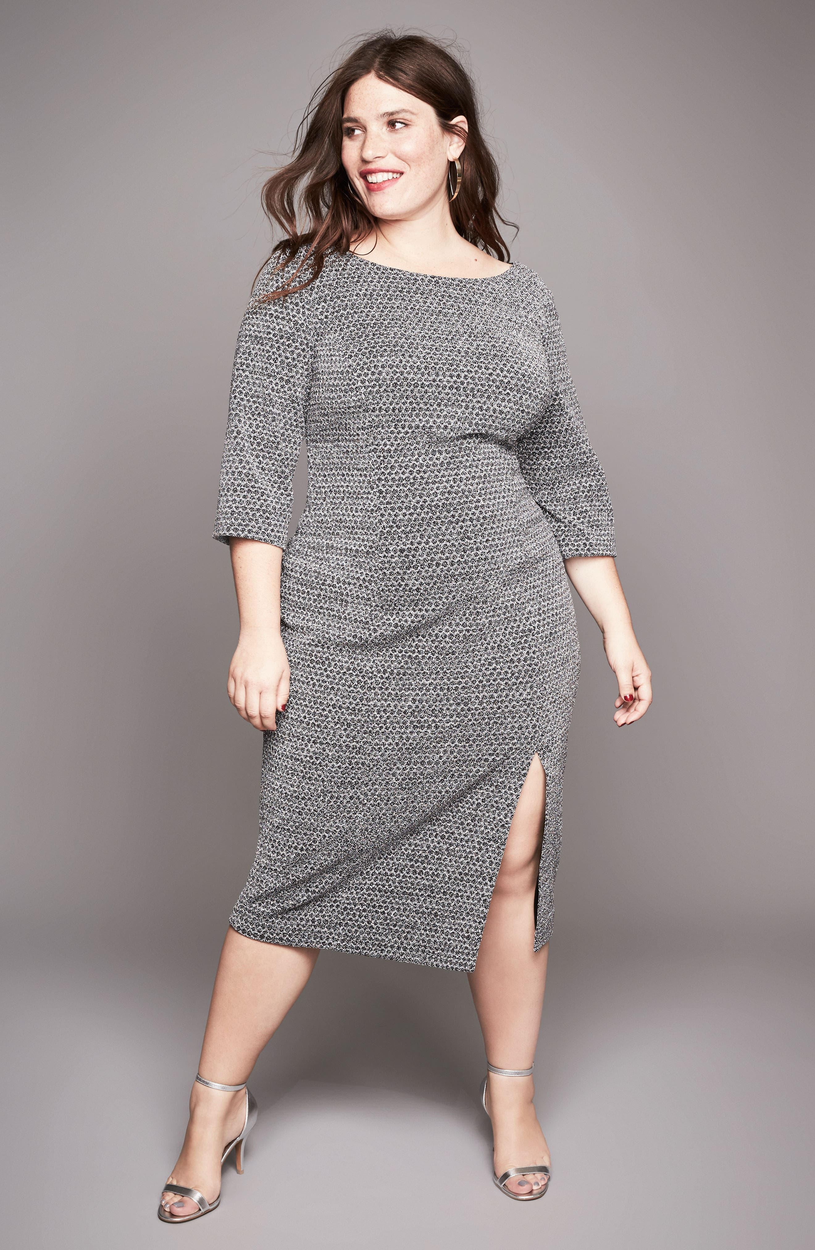 Glitter Knit Sheath Dress,                             Alternate thumbnail 7, color,