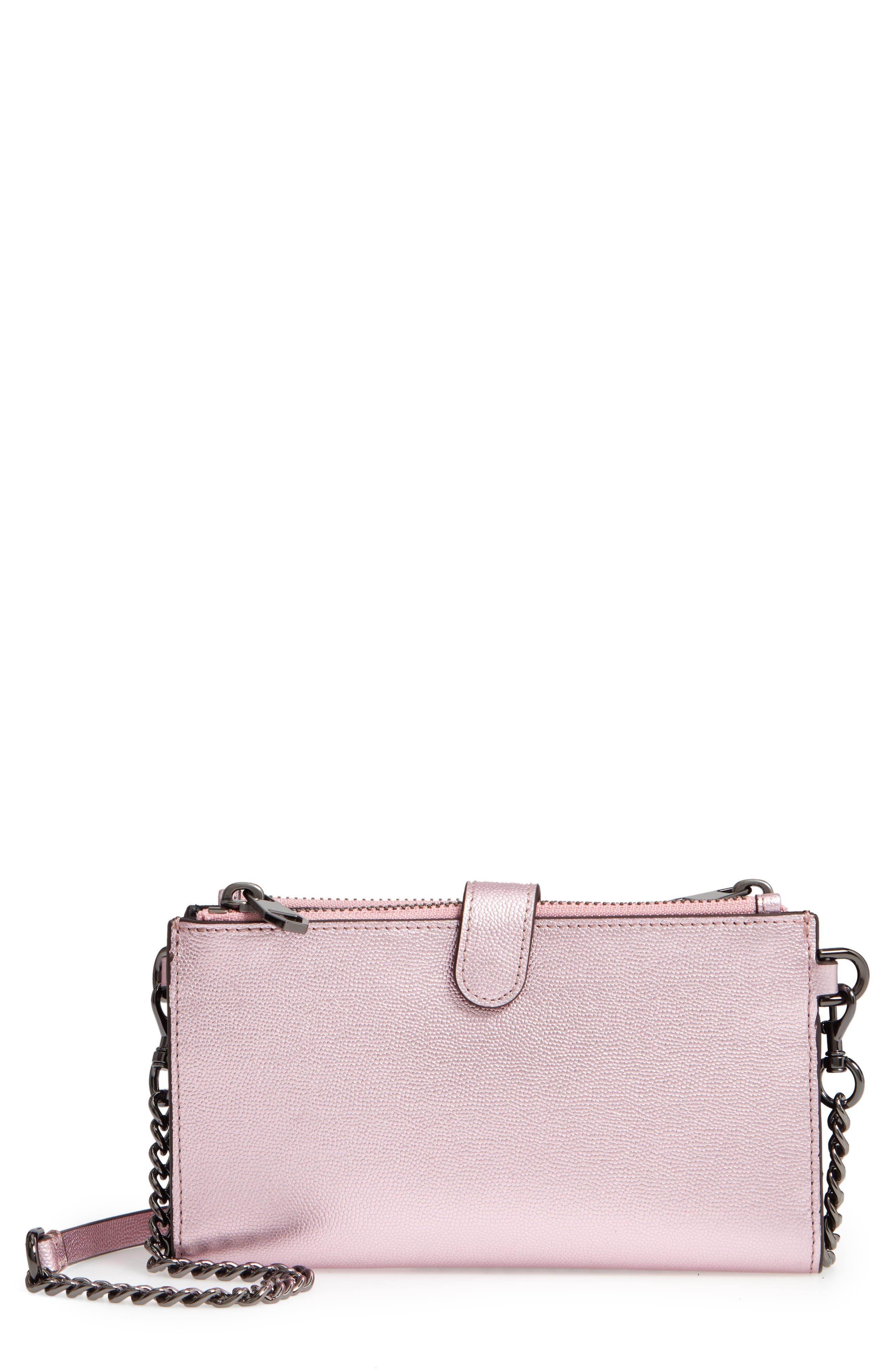 Bifold Leather Crossbody Wallet,                         Main,                         color, METALLIC PINK