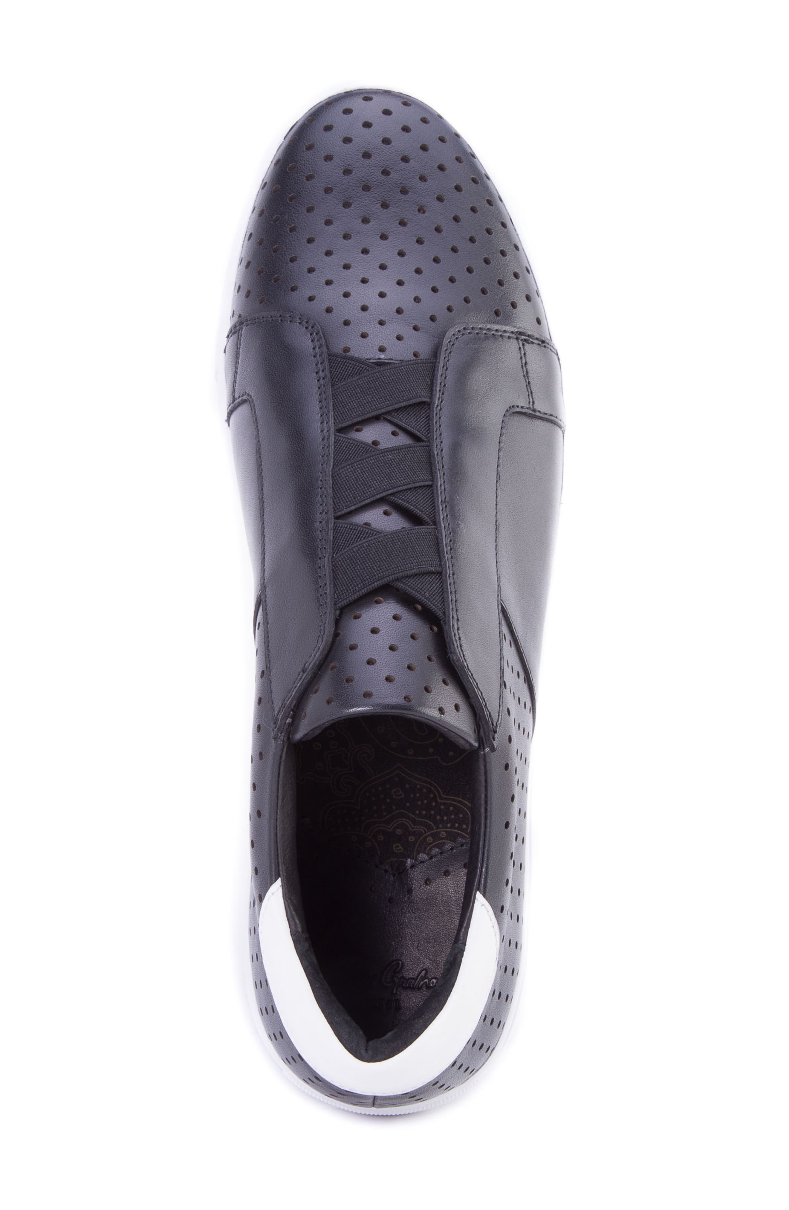 Rowley Perforated Laceless Sneaker,                             Alternate thumbnail 5, color,                             BLACK LEATHER