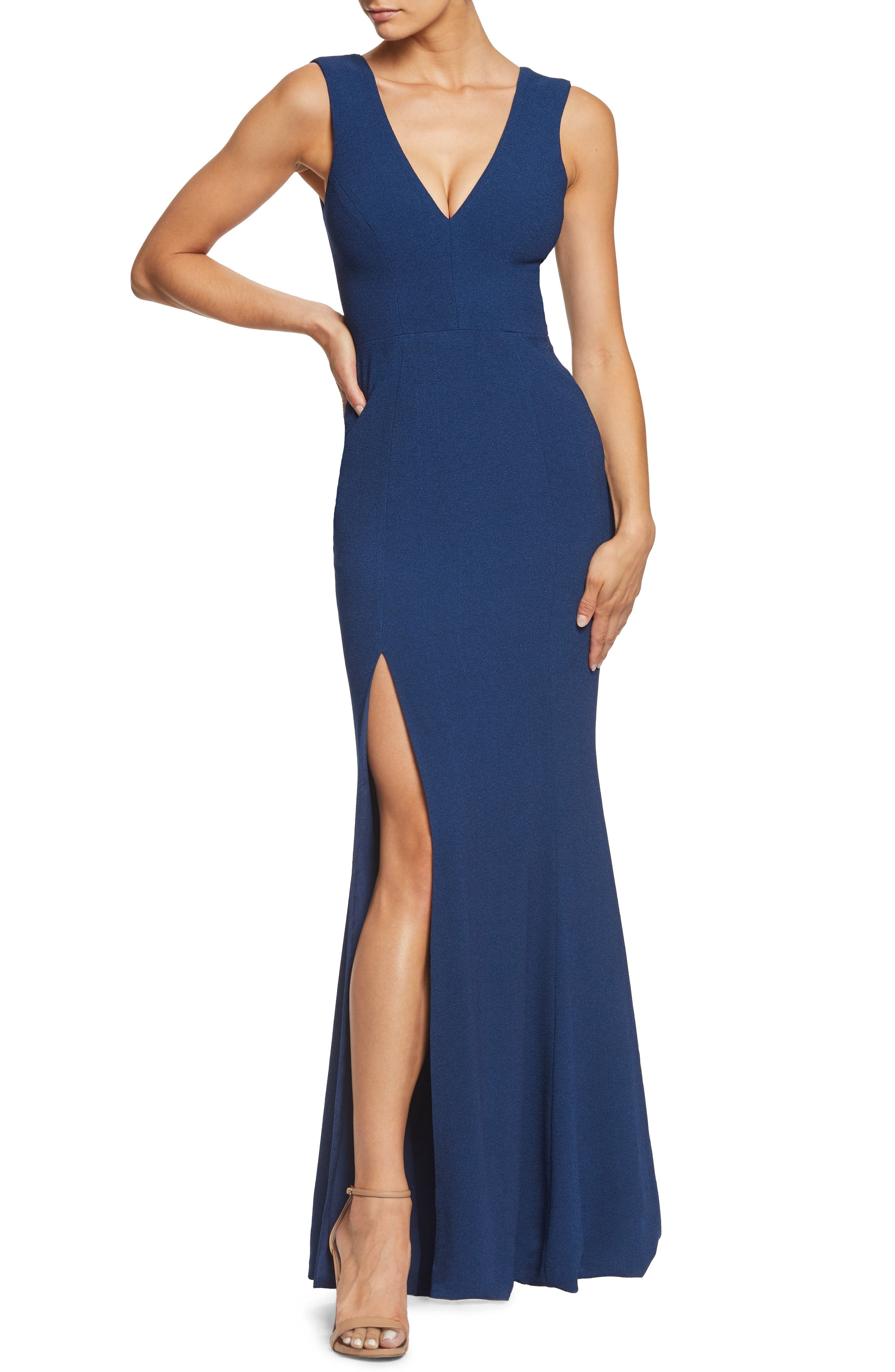 Dress The Population Sandra Plunge Crepe Trumpet Gown, Blue