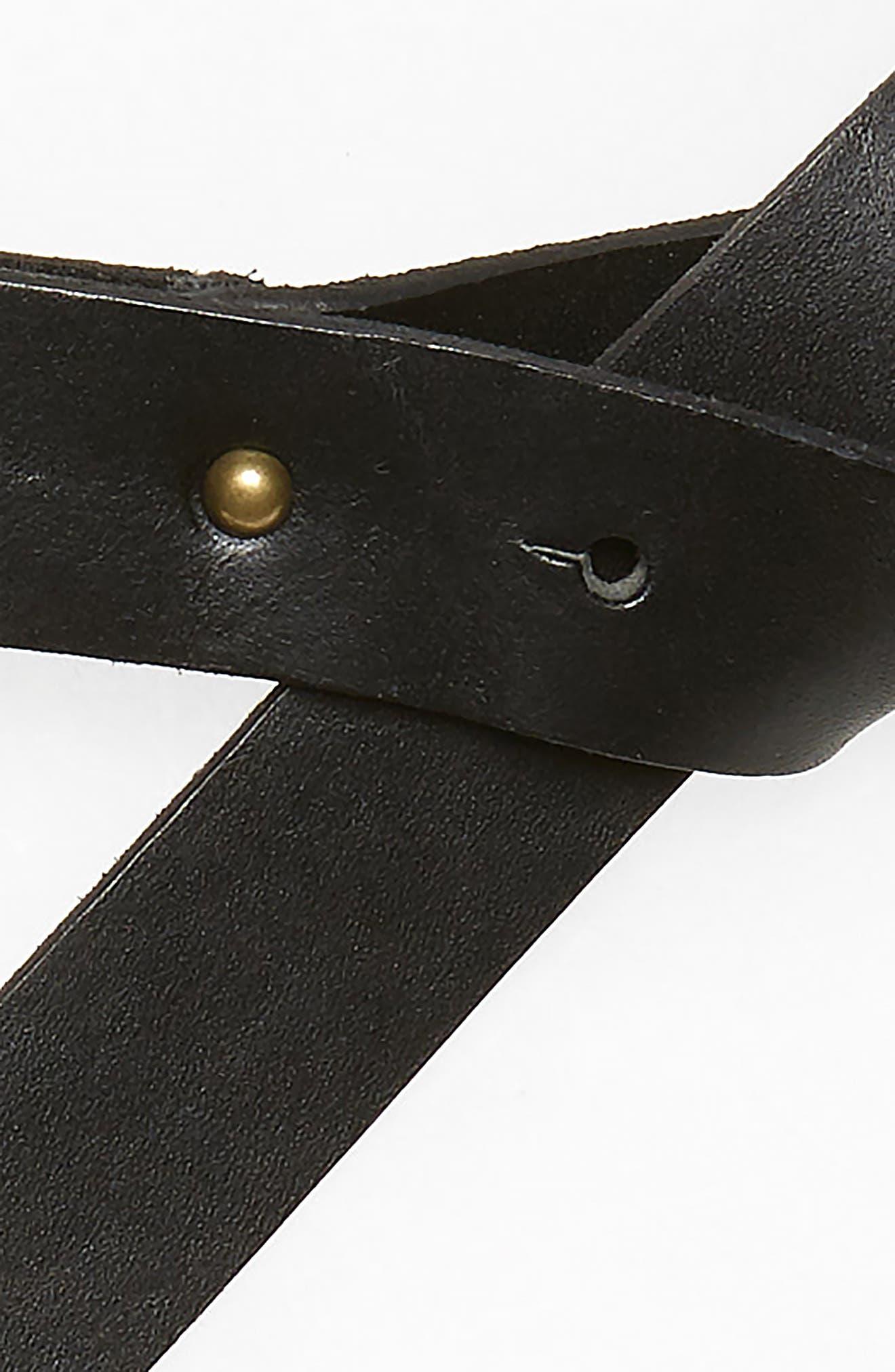 Loop Stretch Leather Belt,                             Alternate thumbnail 3, color,                             001