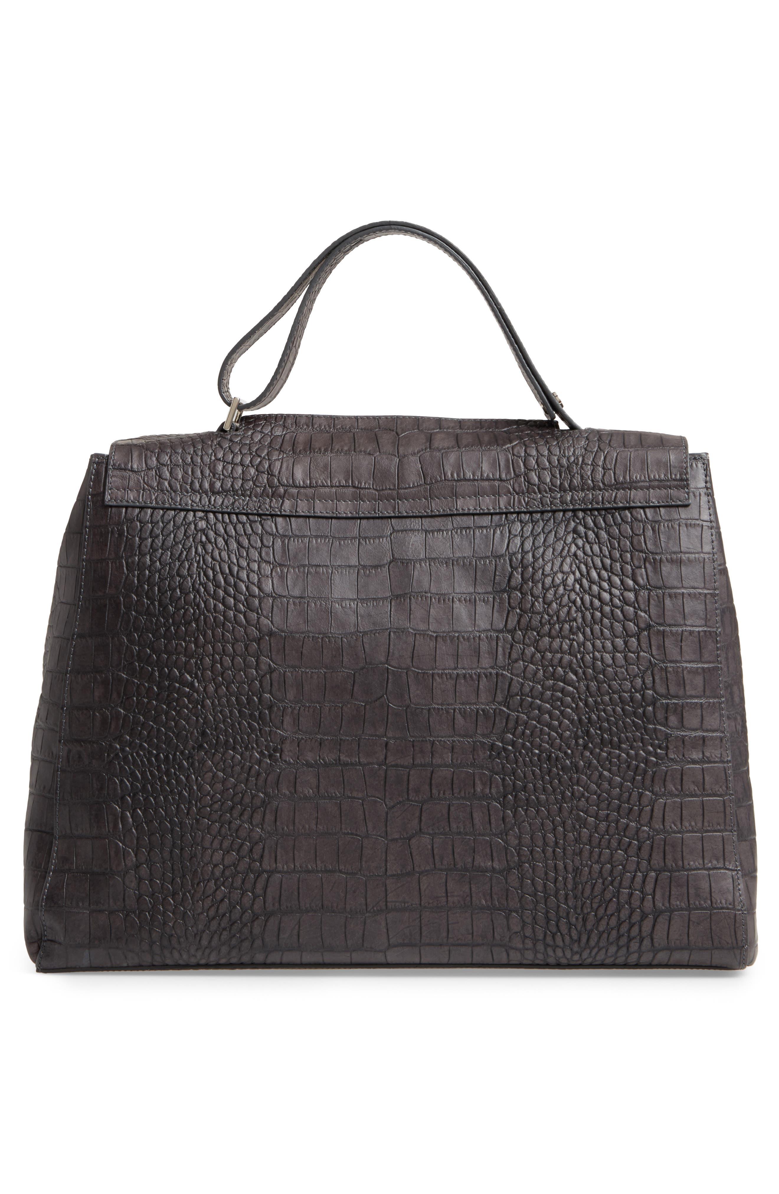 Large Sveva Croc Embossed Calfskin Leather Convertible Satchel,                             Alternate thumbnail 3, color,                             020