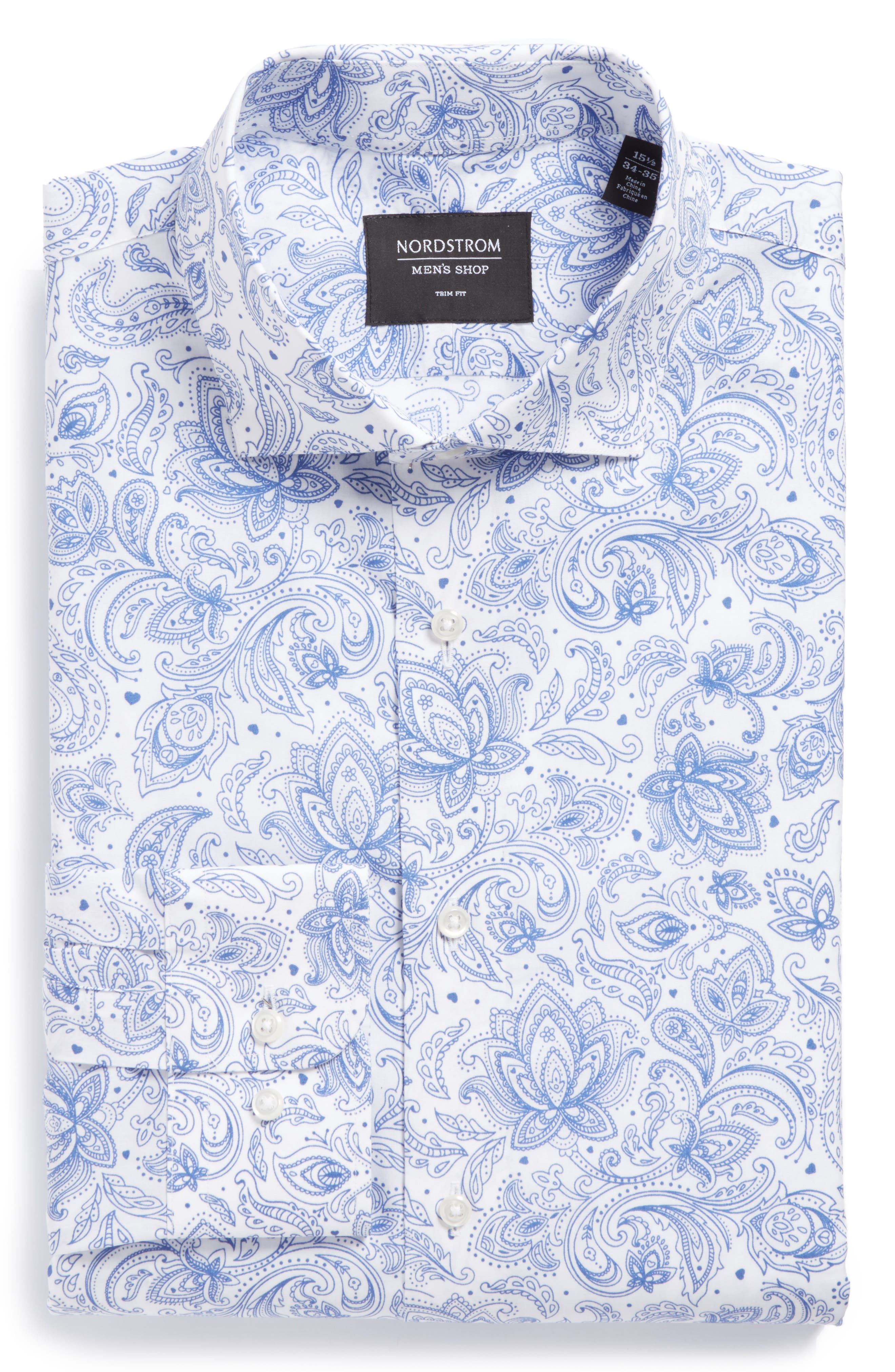 Trim Fit Paisley Dress Shirt,                             Main thumbnail 1, color,                             420