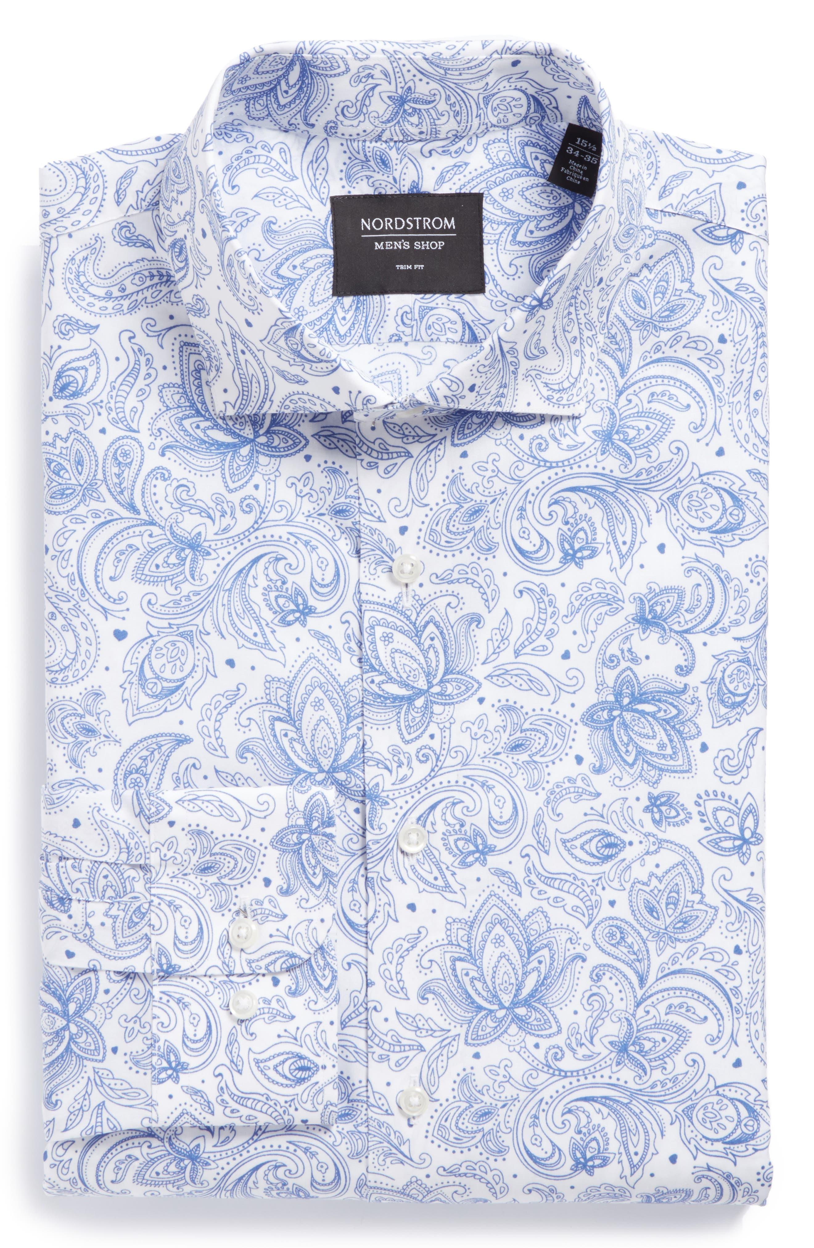Trim Fit Paisley Dress Shirt,                         Main,                         color, 420
