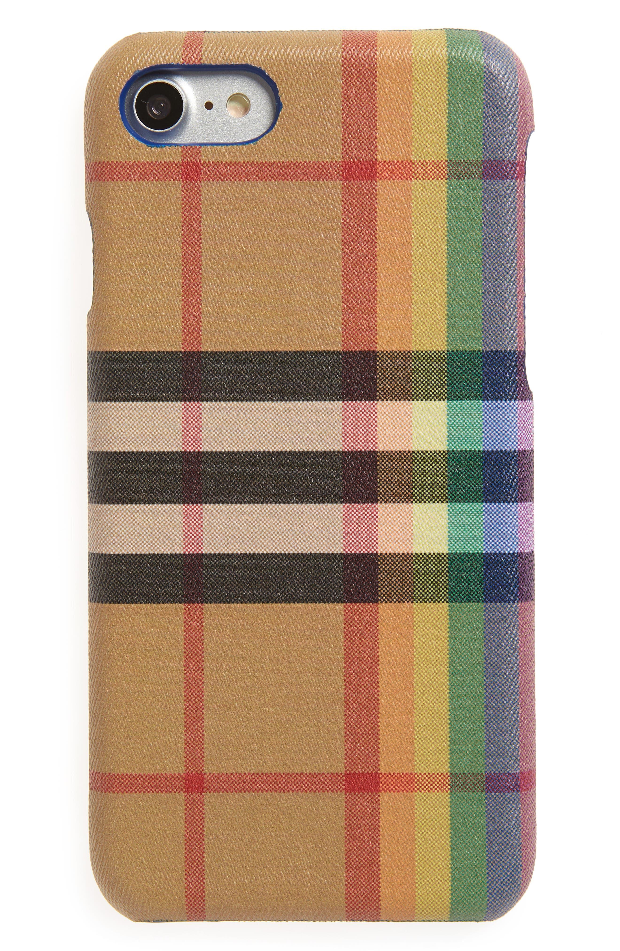 Vintage Check Rainbow iPhone 8 Case,                         Main,                         color, ANTIQUE YELLOW