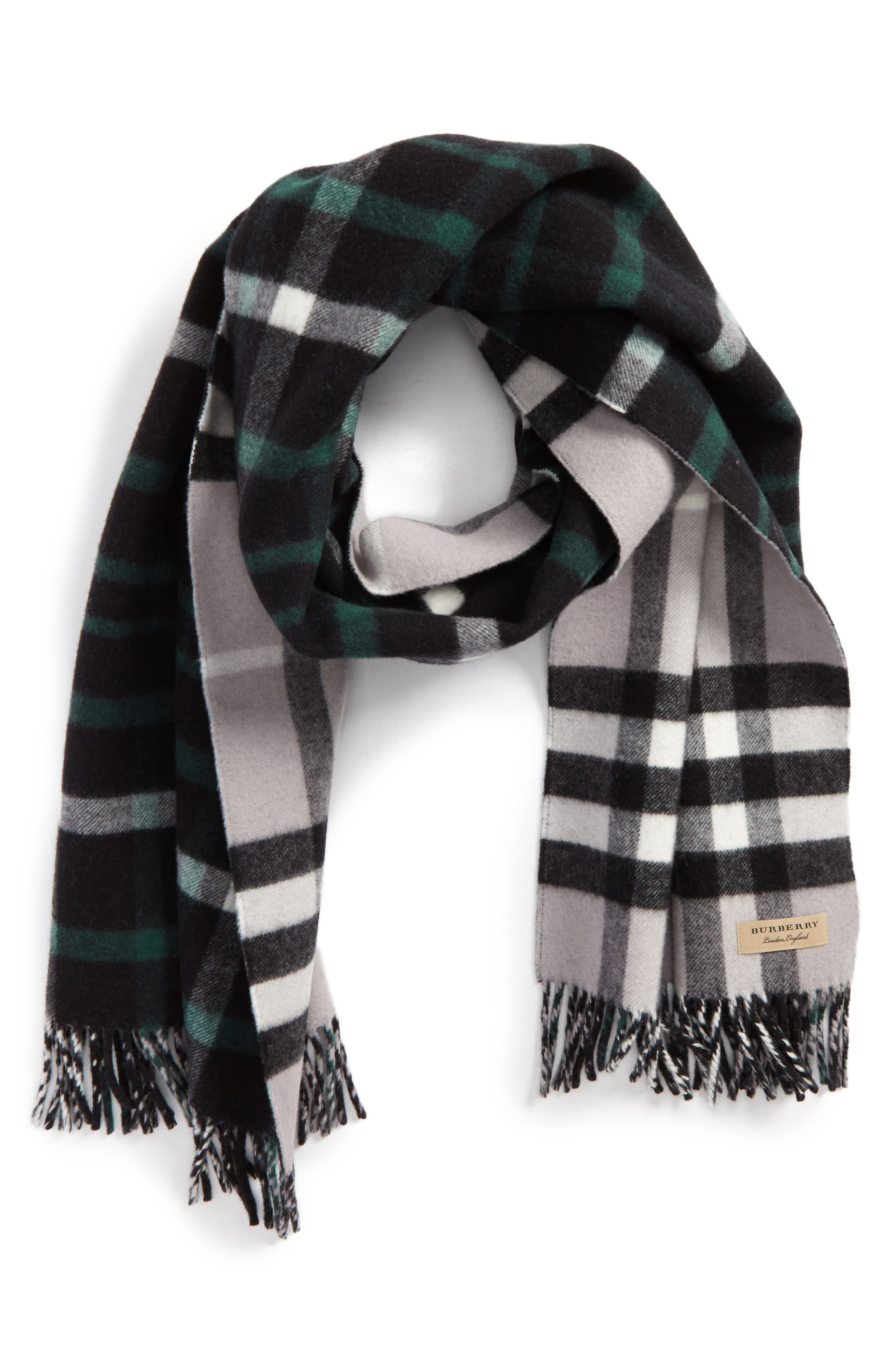Wool & Cashmere Duffle Scarf,                             Alternate thumbnail 2, color,                             001