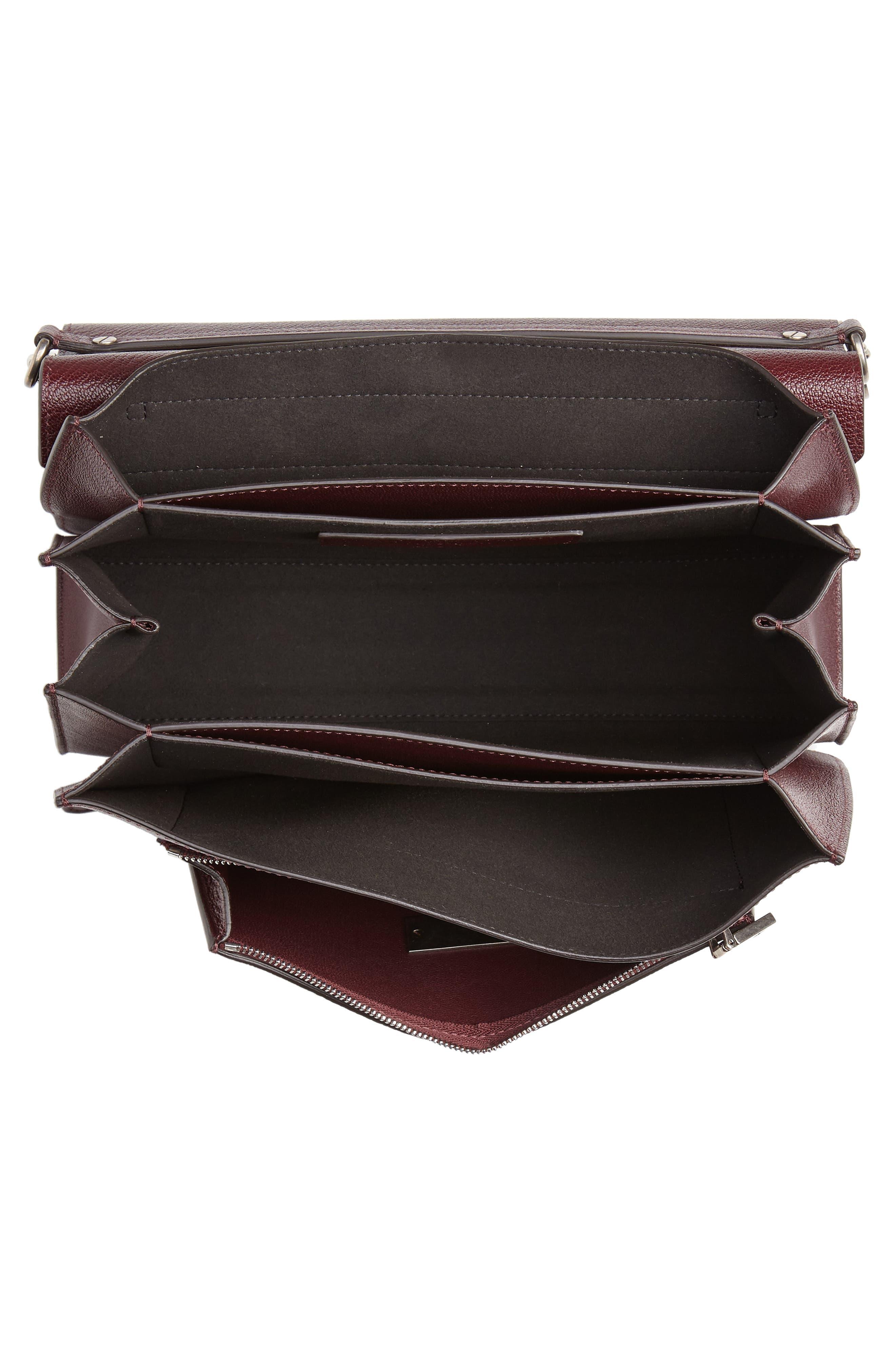 GV3 Goatskin Leather Shoulder Bag,                             Alternate thumbnail 4, color,                             AUBERGINE