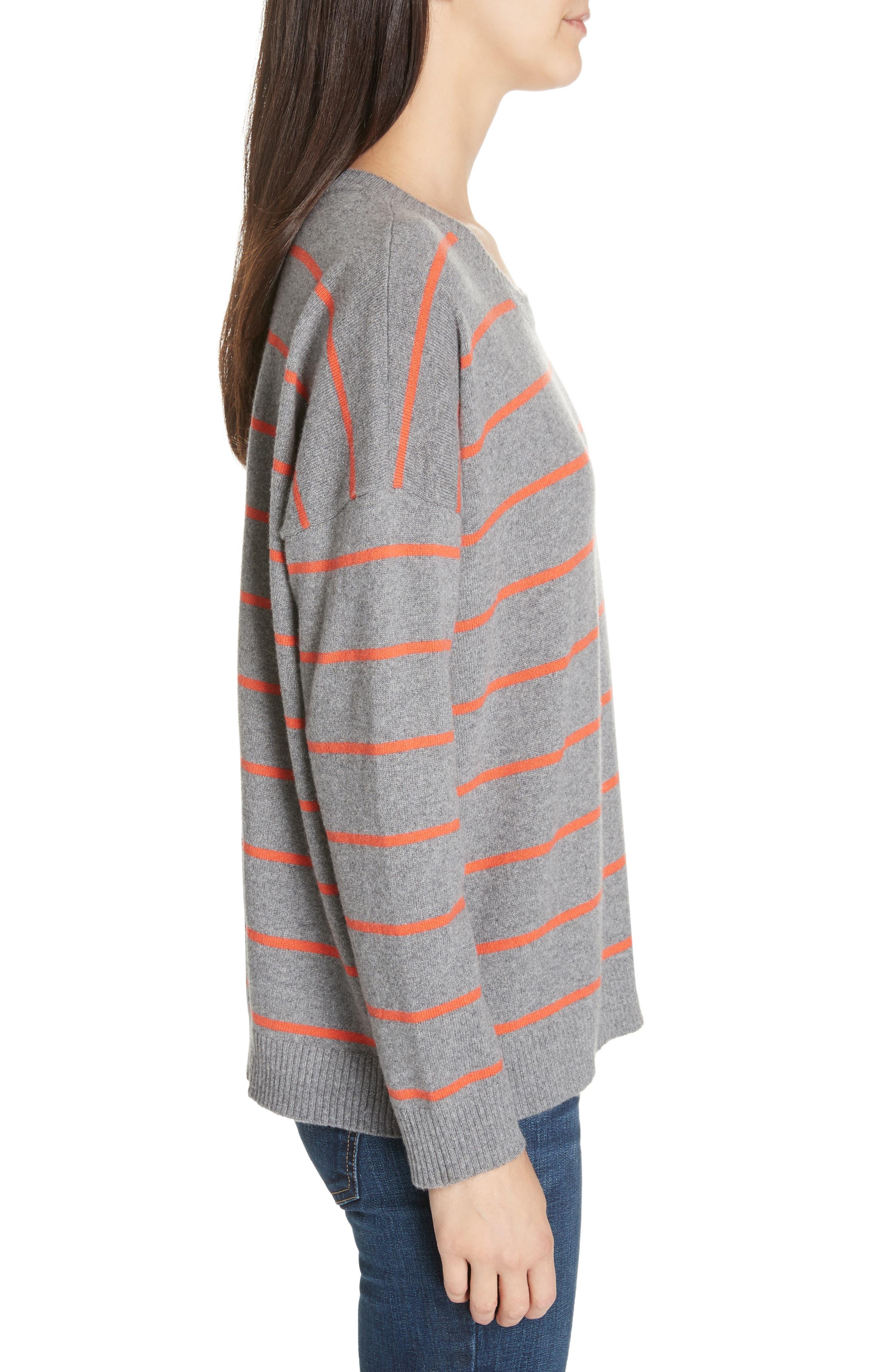 Stripe Boxy Cashmere & Wool Sweater,                             Alternate thumbnail 3, color,                             ASH
