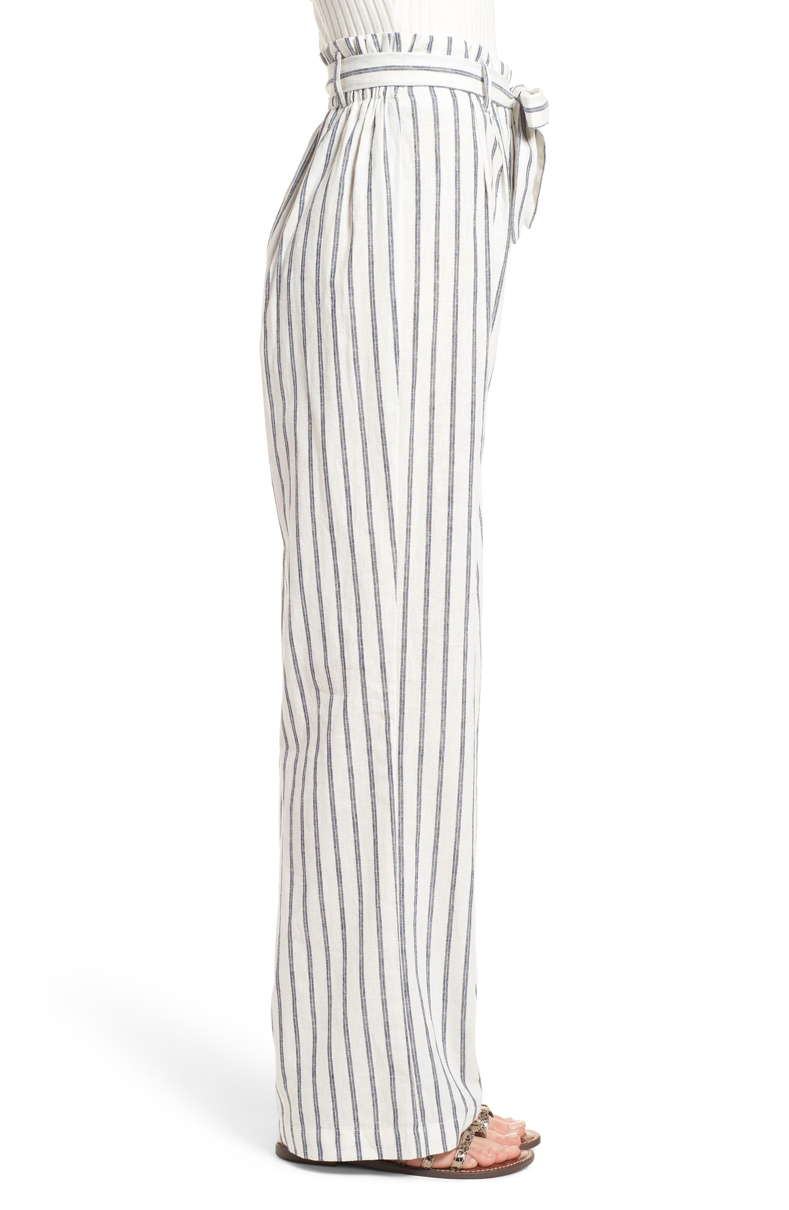 Paper Bag Linen & Cotton Pants,                             Alternate thumbnail 3, color,                             IVORY / BLUE STRIPE