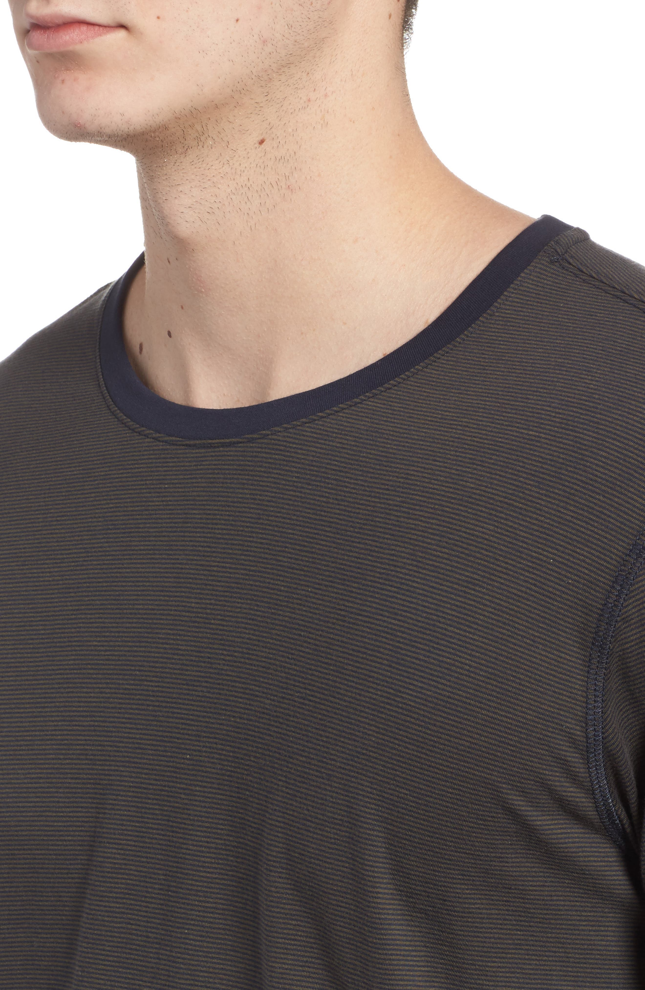 Peruvian Pima Cotton T-Shirt,                             Alternate thumbnail 4, color,                             ARMY/ MIDNIGHT STRIPE