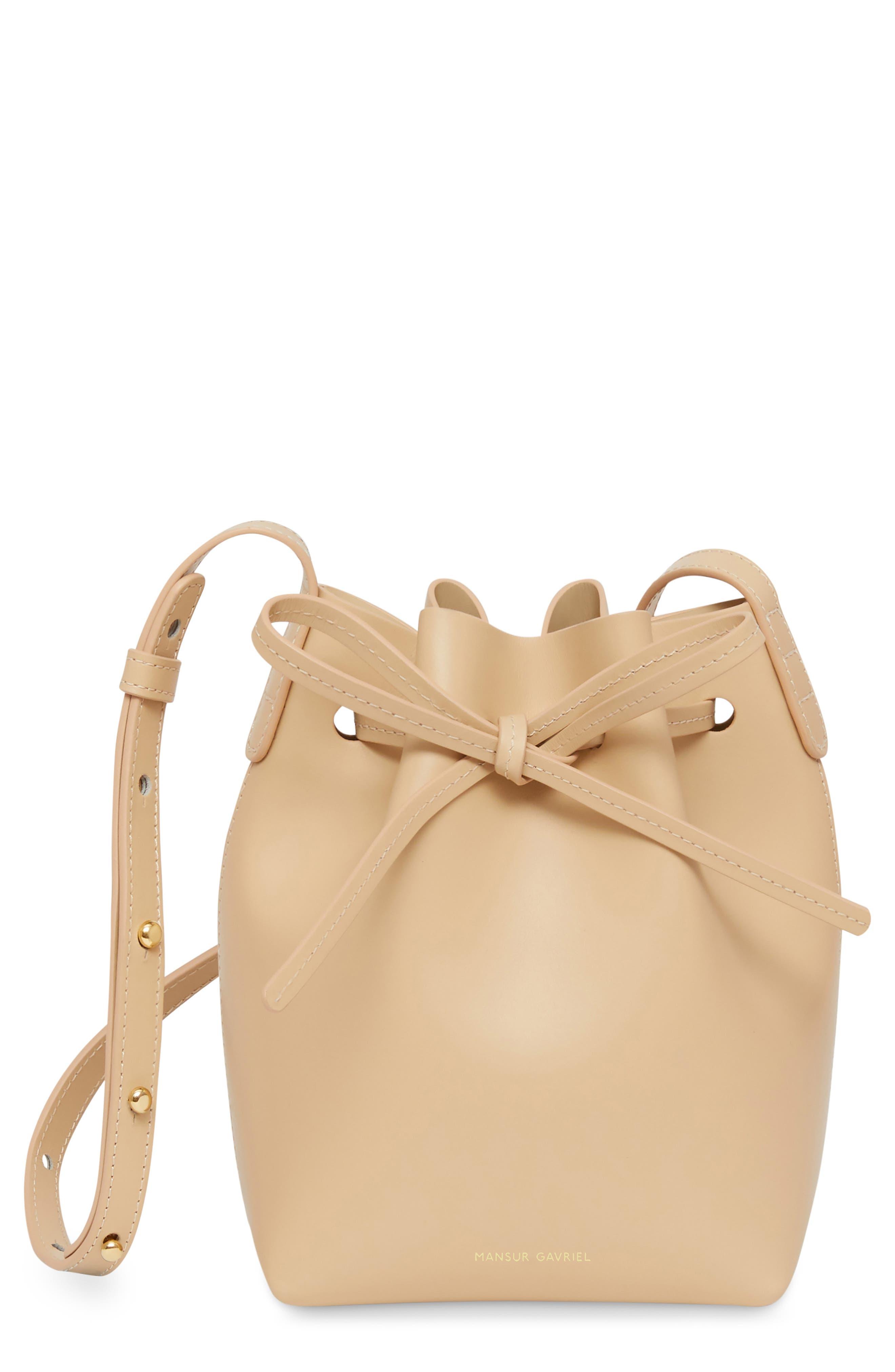 Mini Mini Leather Bucket Bag,                             Main thumbnail 1, color,                             NATURAL