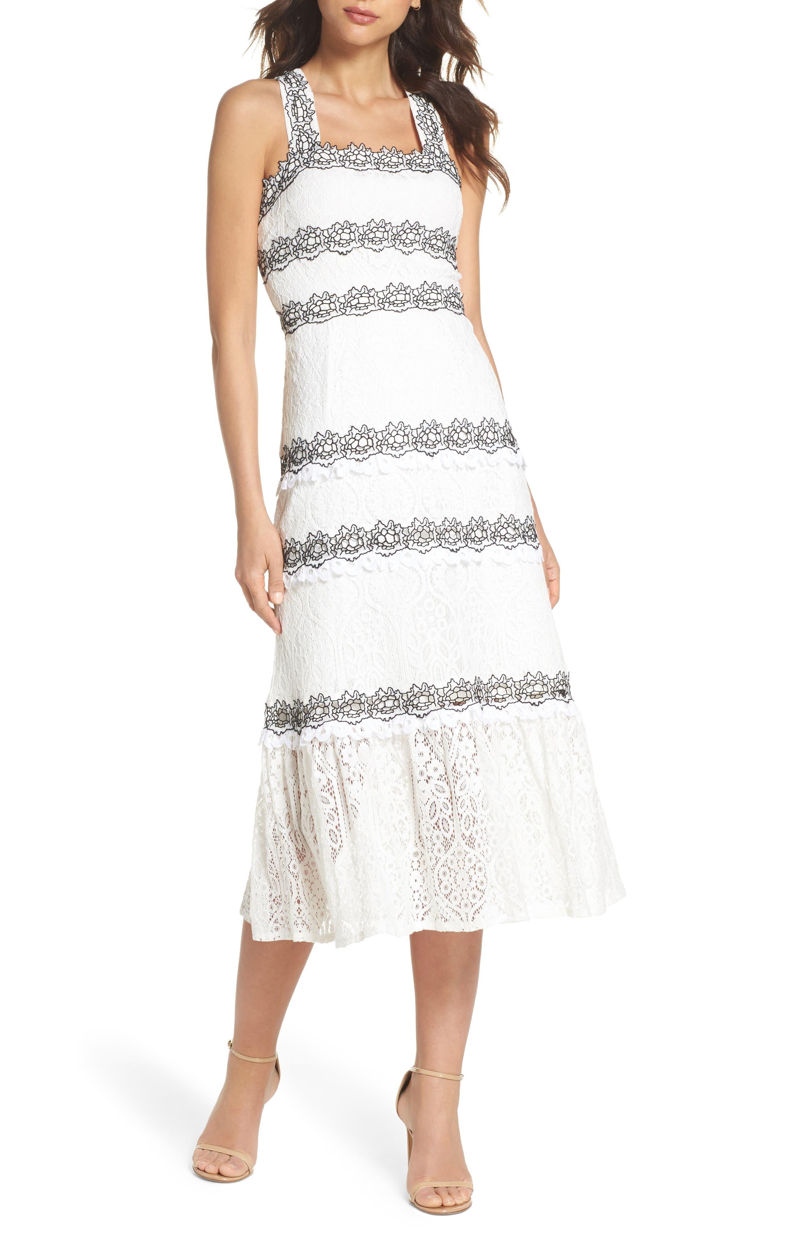 Frances Embroidered Lace Midi Dress,                         Main,                         color, 102