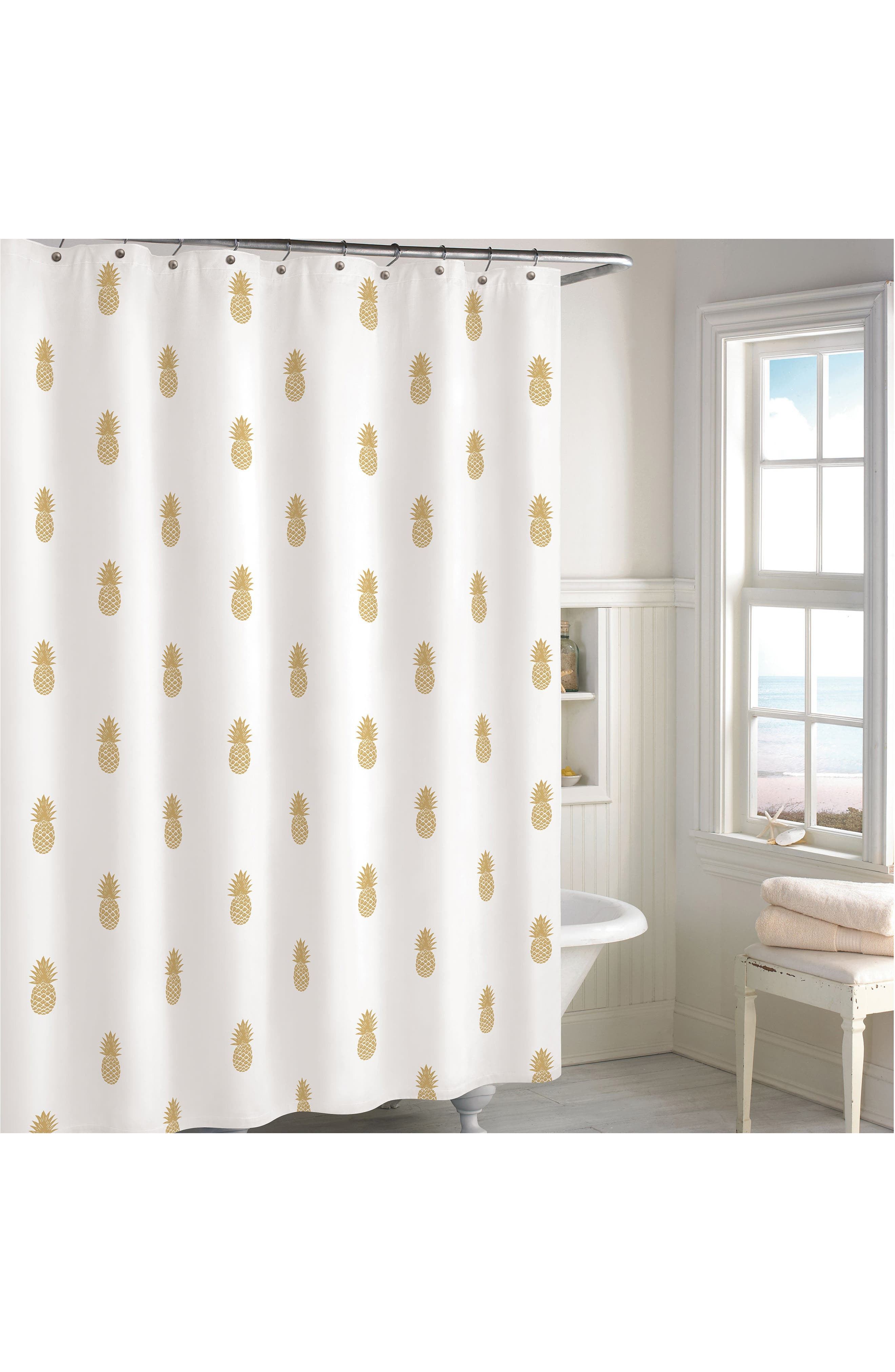 Golden Pineapple Shower Curtain,                             Main thumbnail 1, color,                             710