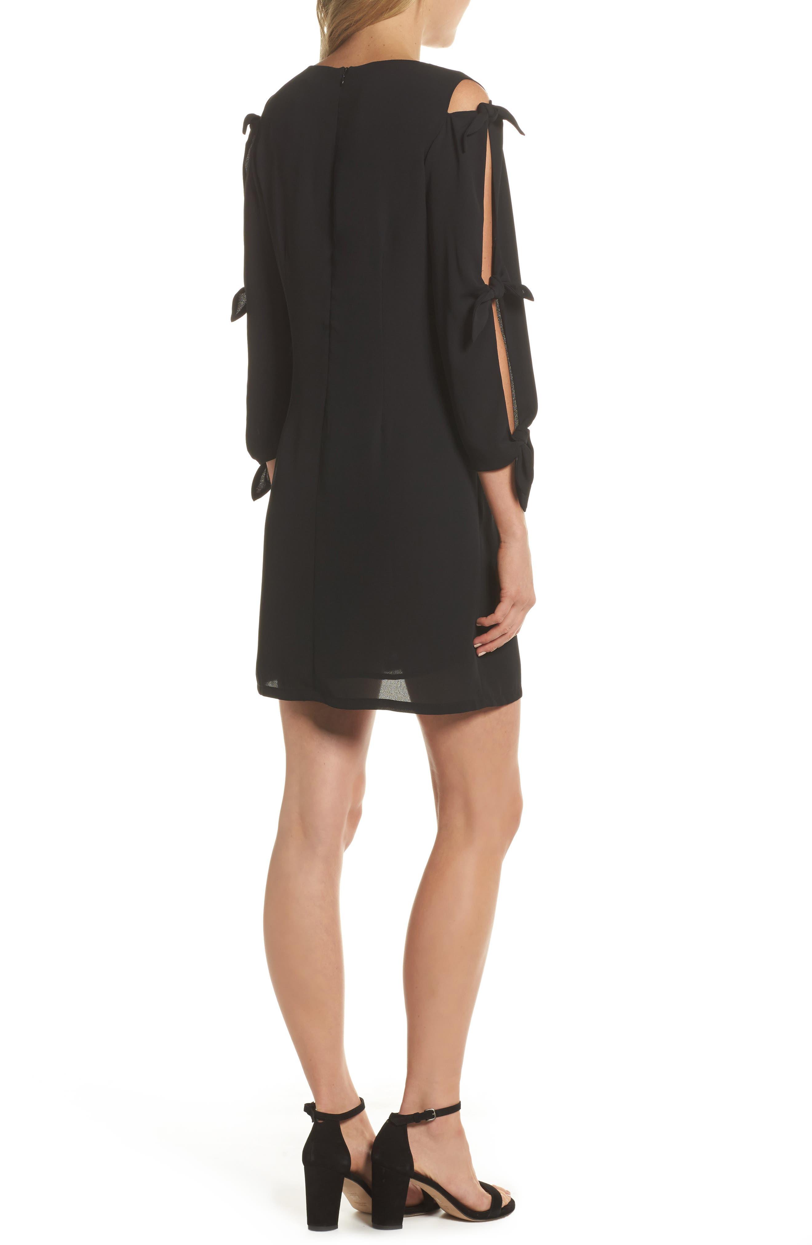Bow Sleeve Shift Dress,                             Alternate thumbnail 2, color,                             BLACK